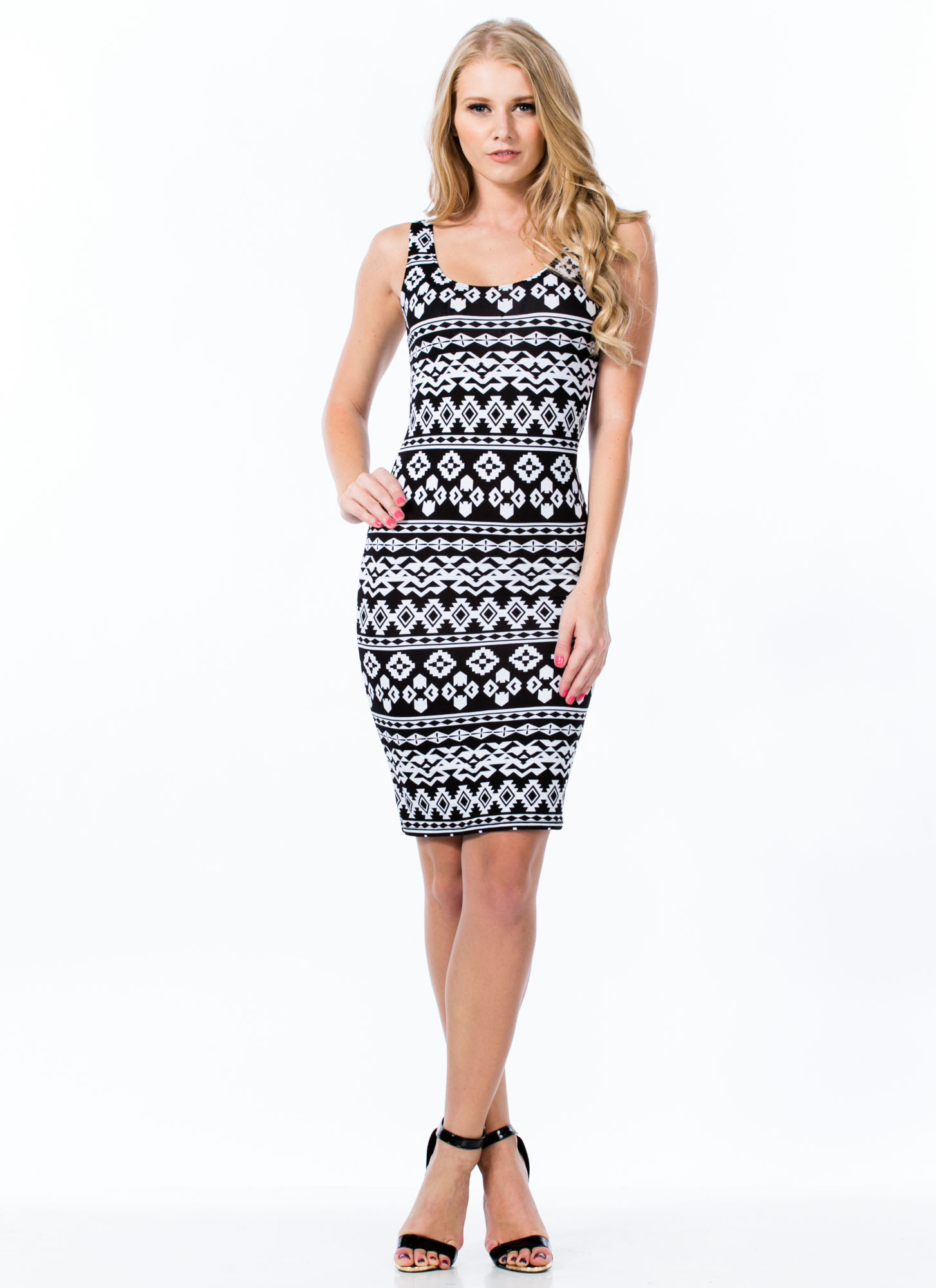 Tribe And True Two-Toned Print Dress BLACKWHITE