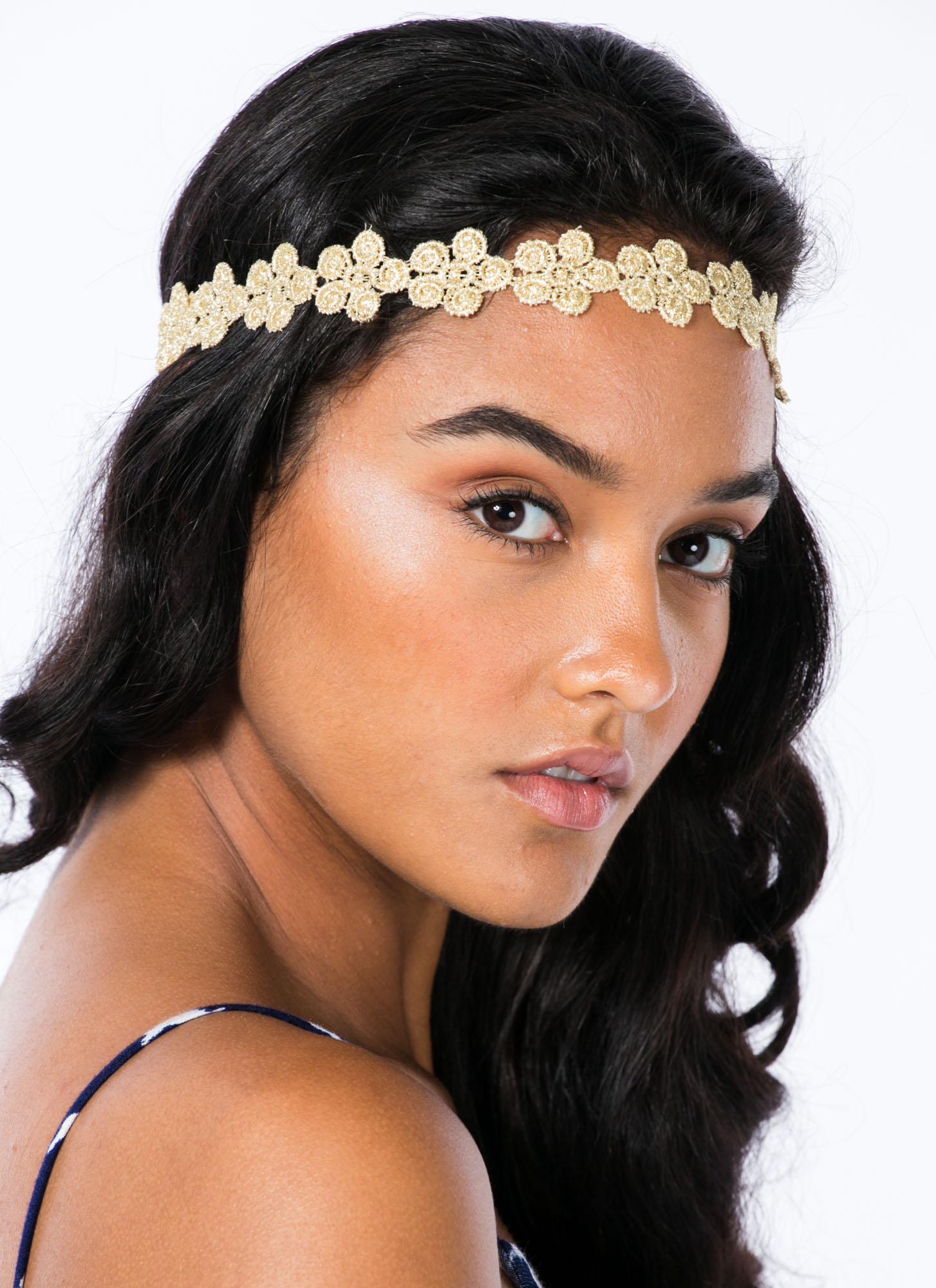 Metallic Swirled Flowers Headband GOLD