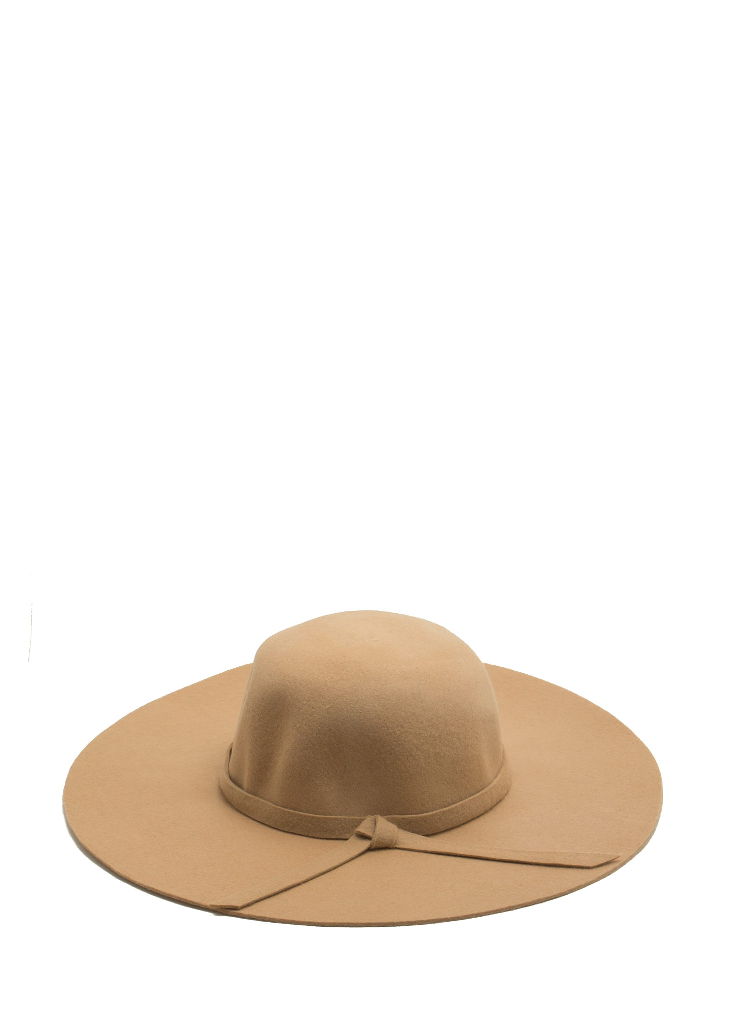 Tied Ribbon Floppy Brim Wool Hat BEIGE