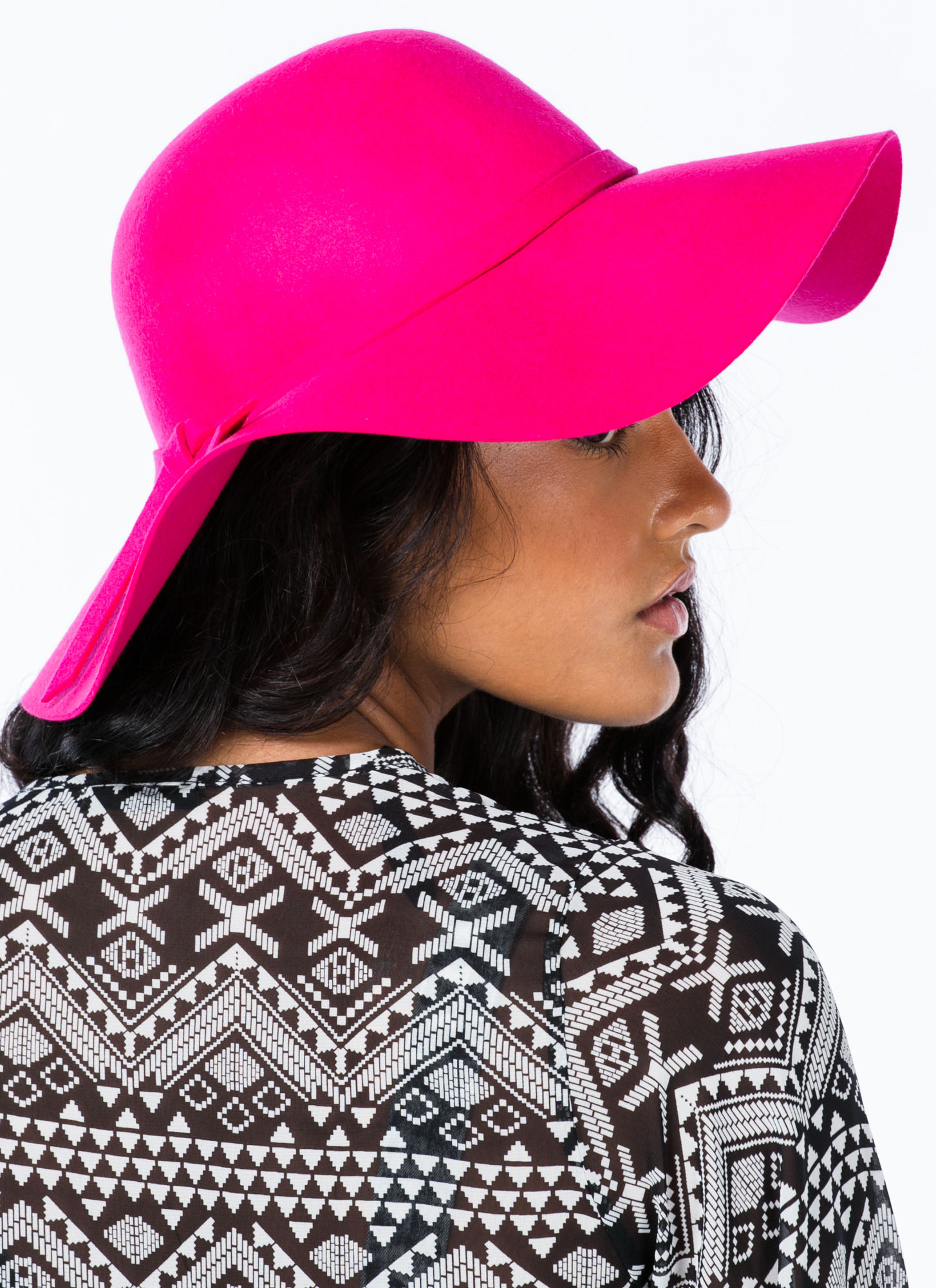 Tied Ribbon Floppy Brim Wool Hat HOTPINK