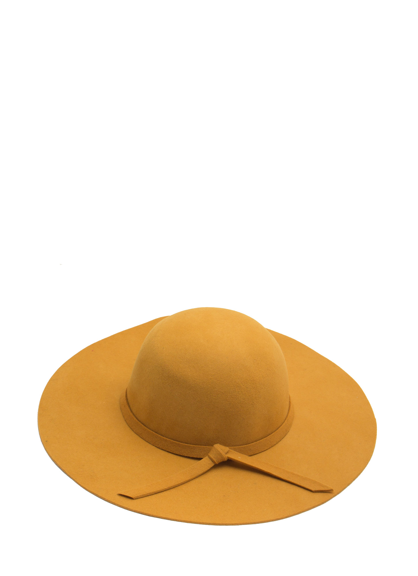 Tied Ribbon Floppy Brim Wool Hat MUSTARD