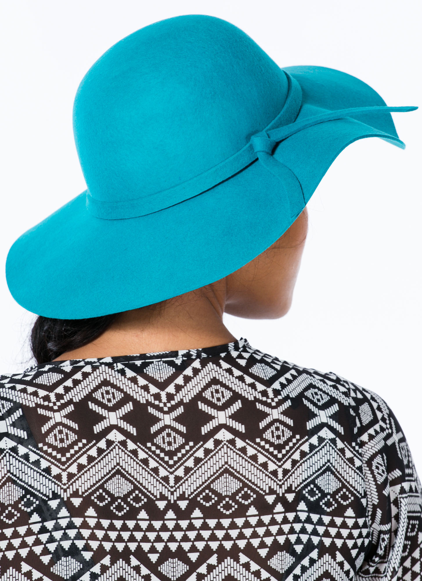 Tied Ribbon Floppy Brim Wool Hat TEAL