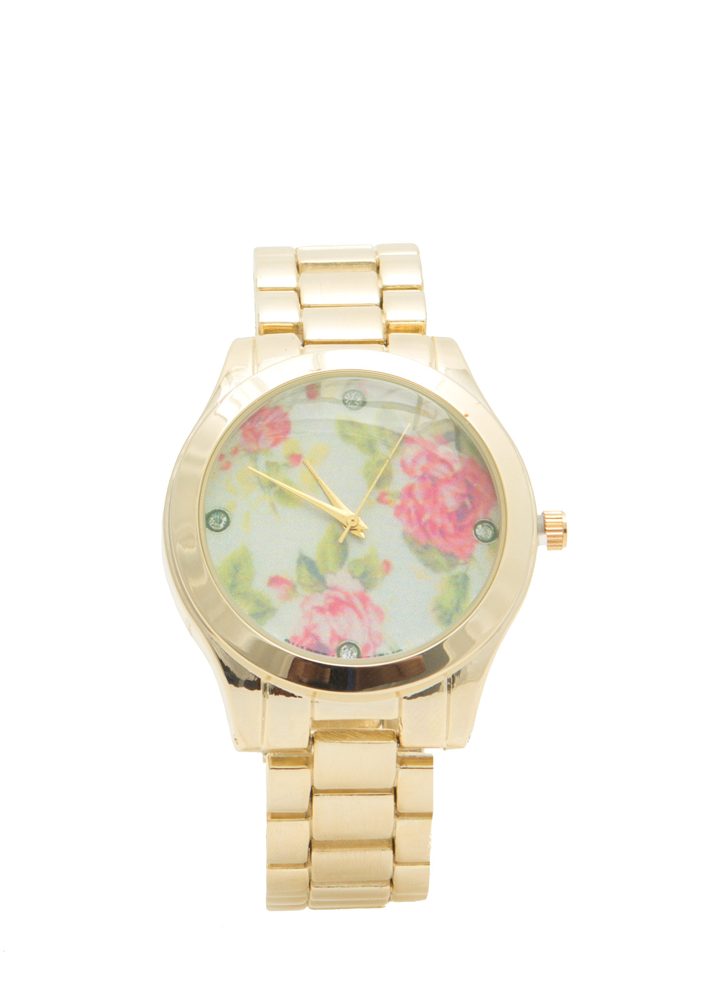 Floral Background Boyfriend Watch GOLDMULTI