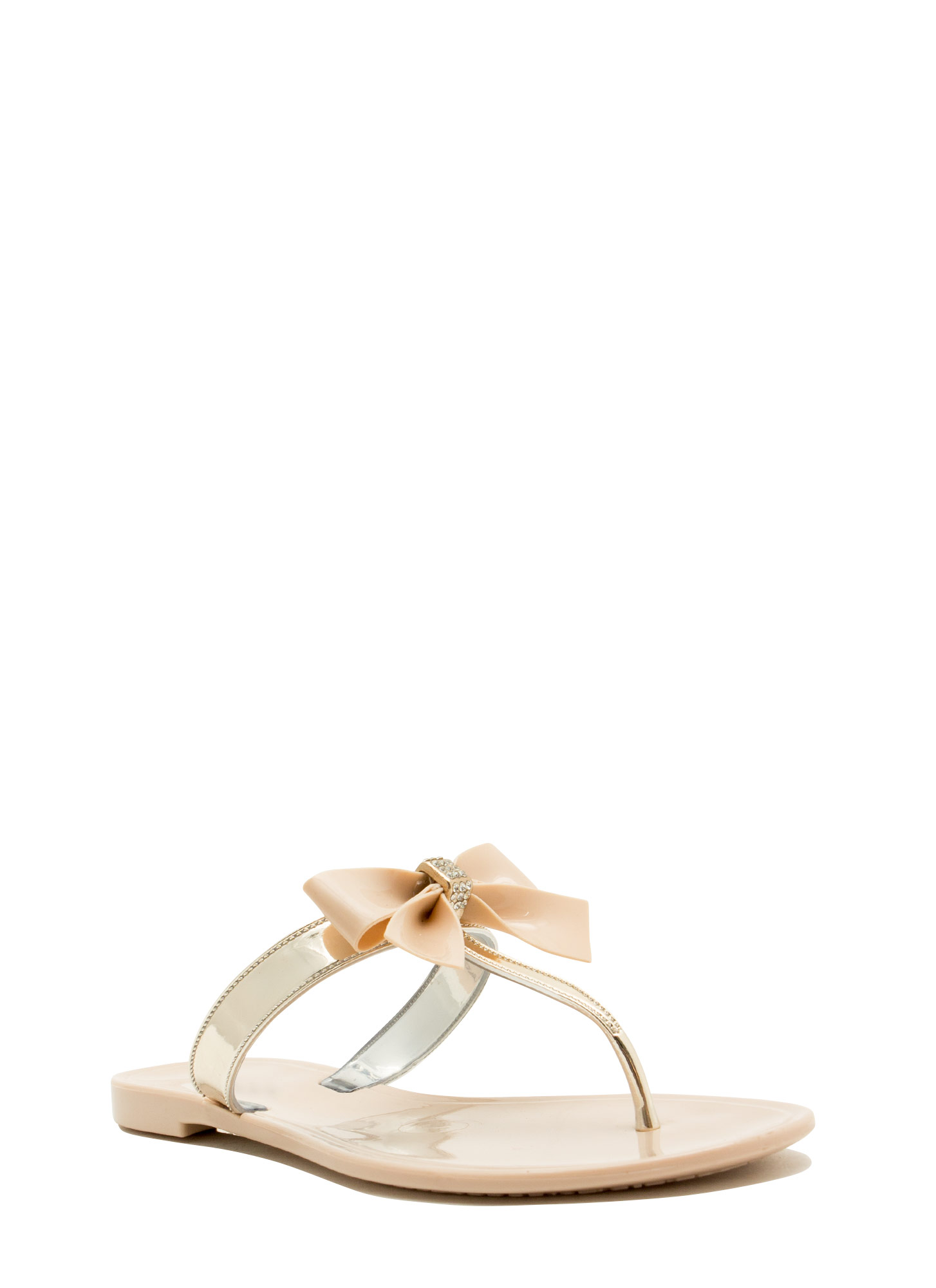 Bow For It Jeweled Slip-On Sandals BEIGEGOLD