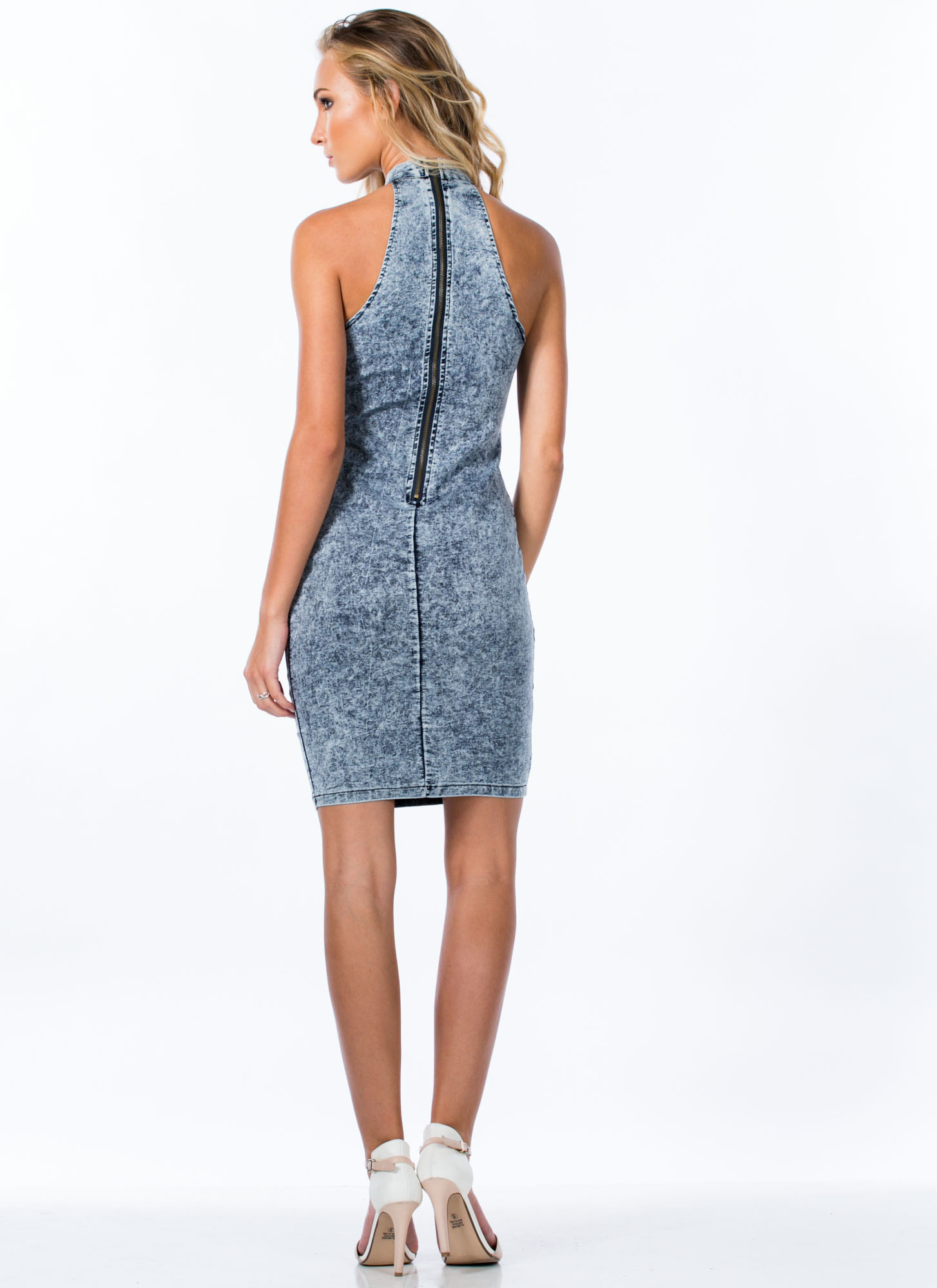 Dangerous Curves Acid Wash Dress BLUE