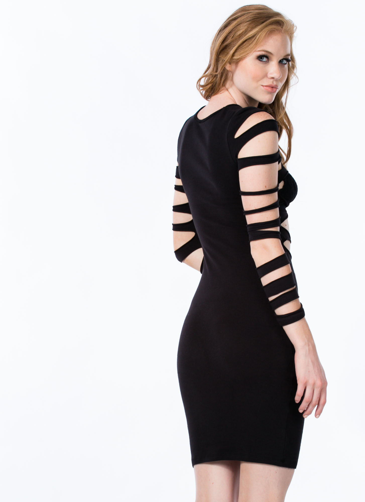 Worn To Shreds Solid Slashed Dress BLACK