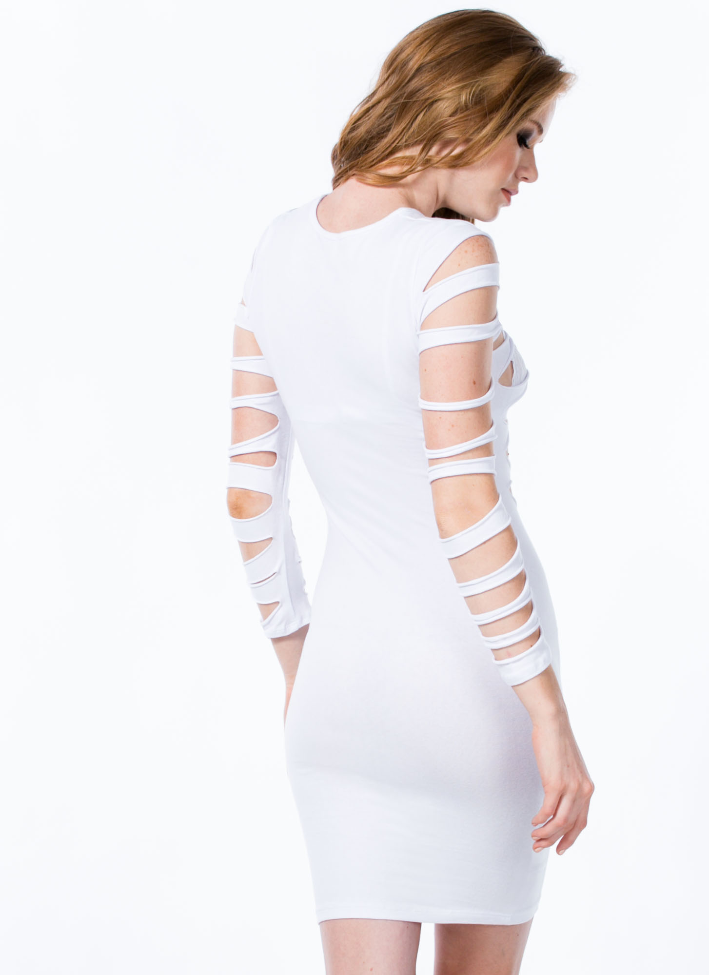 Worn To Shreds Solid Slashed Dress WHITE