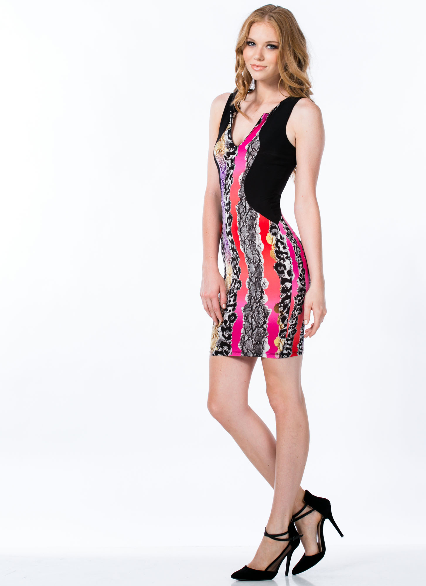 Scale Up Snake Print Bodycon Dress PINKBLACK