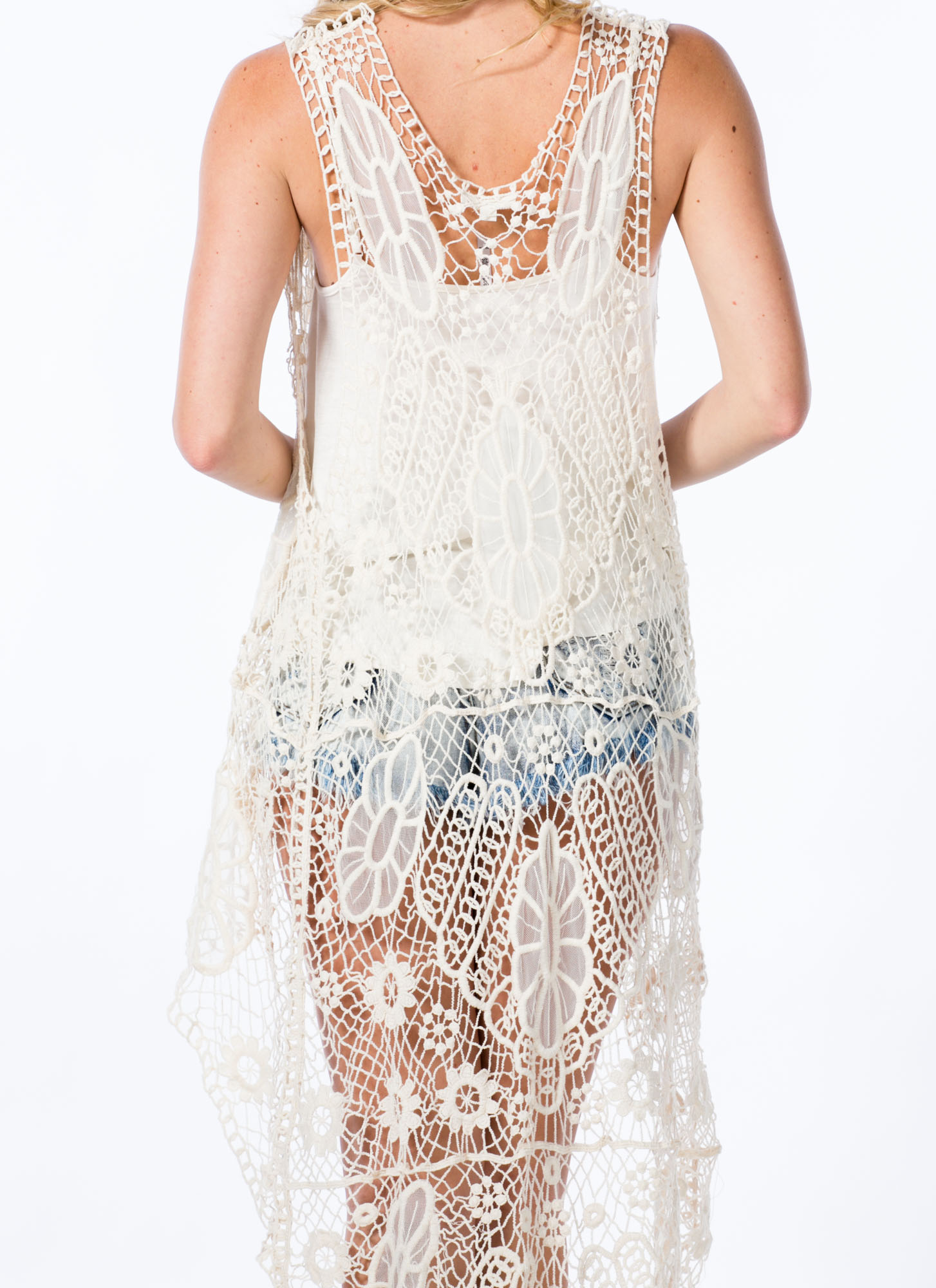 Floral Crochet High-Low Vest NATURAL