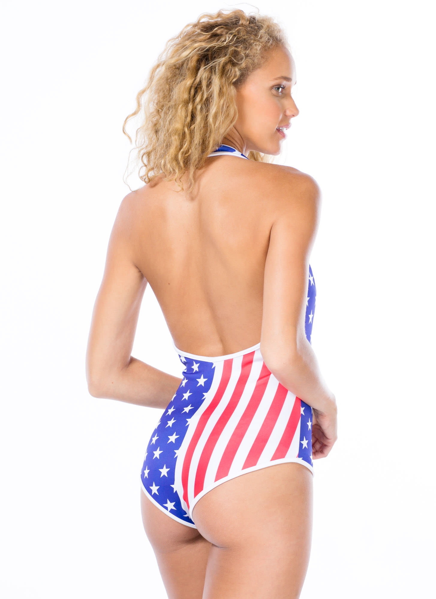Starstruck Flag Print Halter Bodysuit REDBLUE (Final Sale)