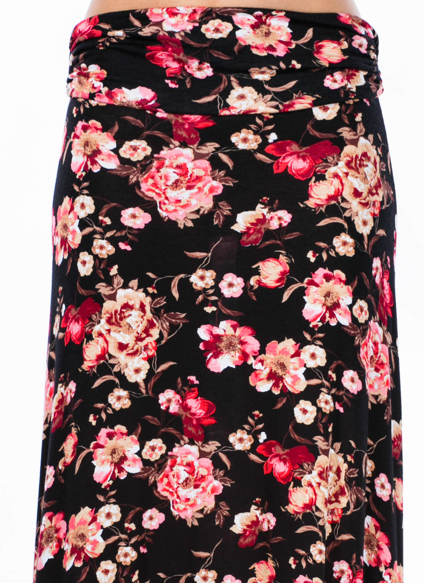 Come Into Bloom Floral Maxi Skirt BLACK