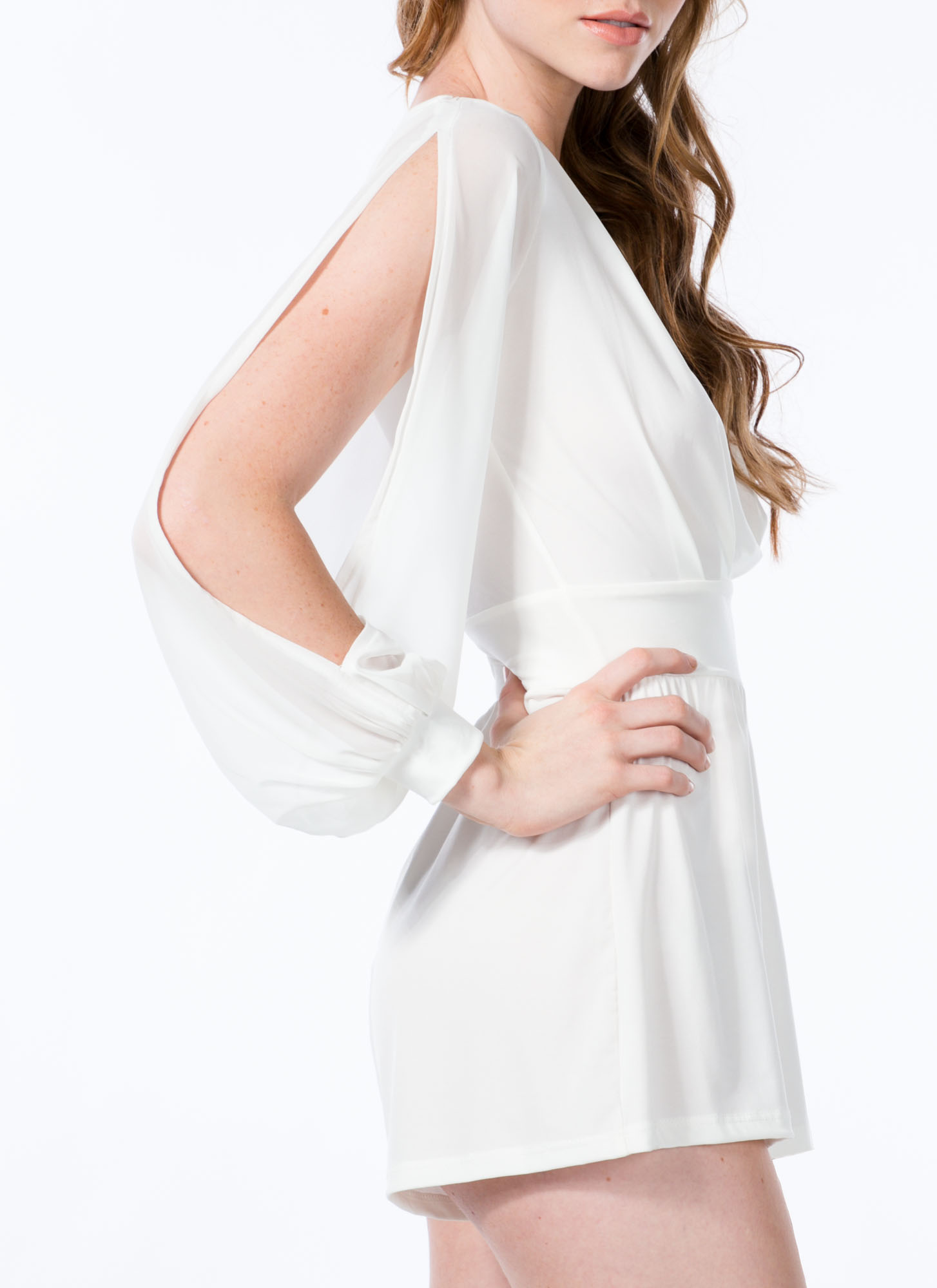 Pleated Chiffon Sleeve Surplice Romper IVORY