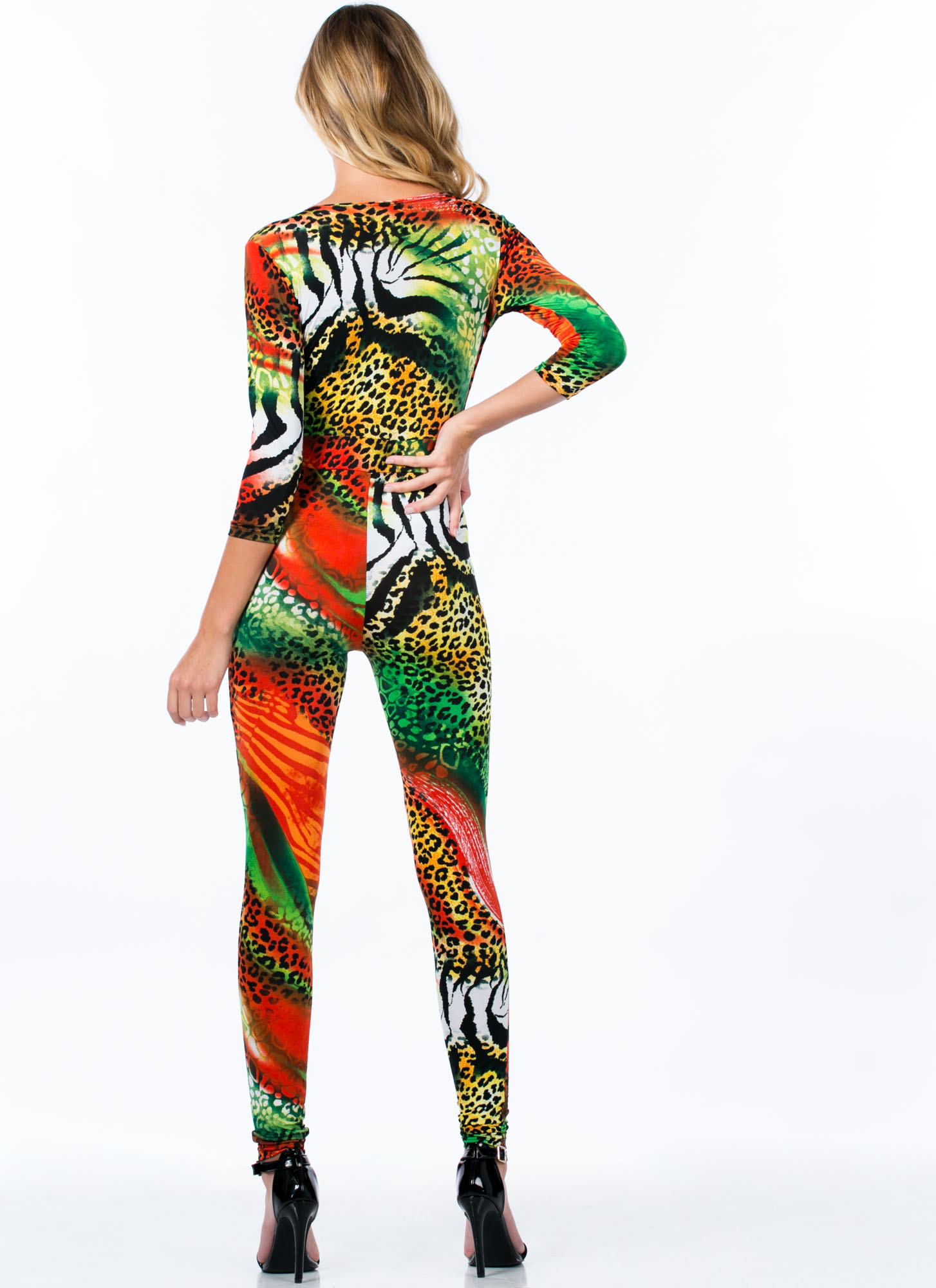 Animal Blend V-Neck Jumpsuit ORANGE