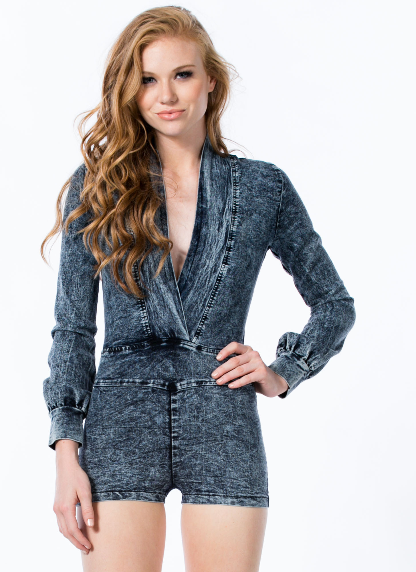 Acid Wash Deep V Denim Romper BLUE
