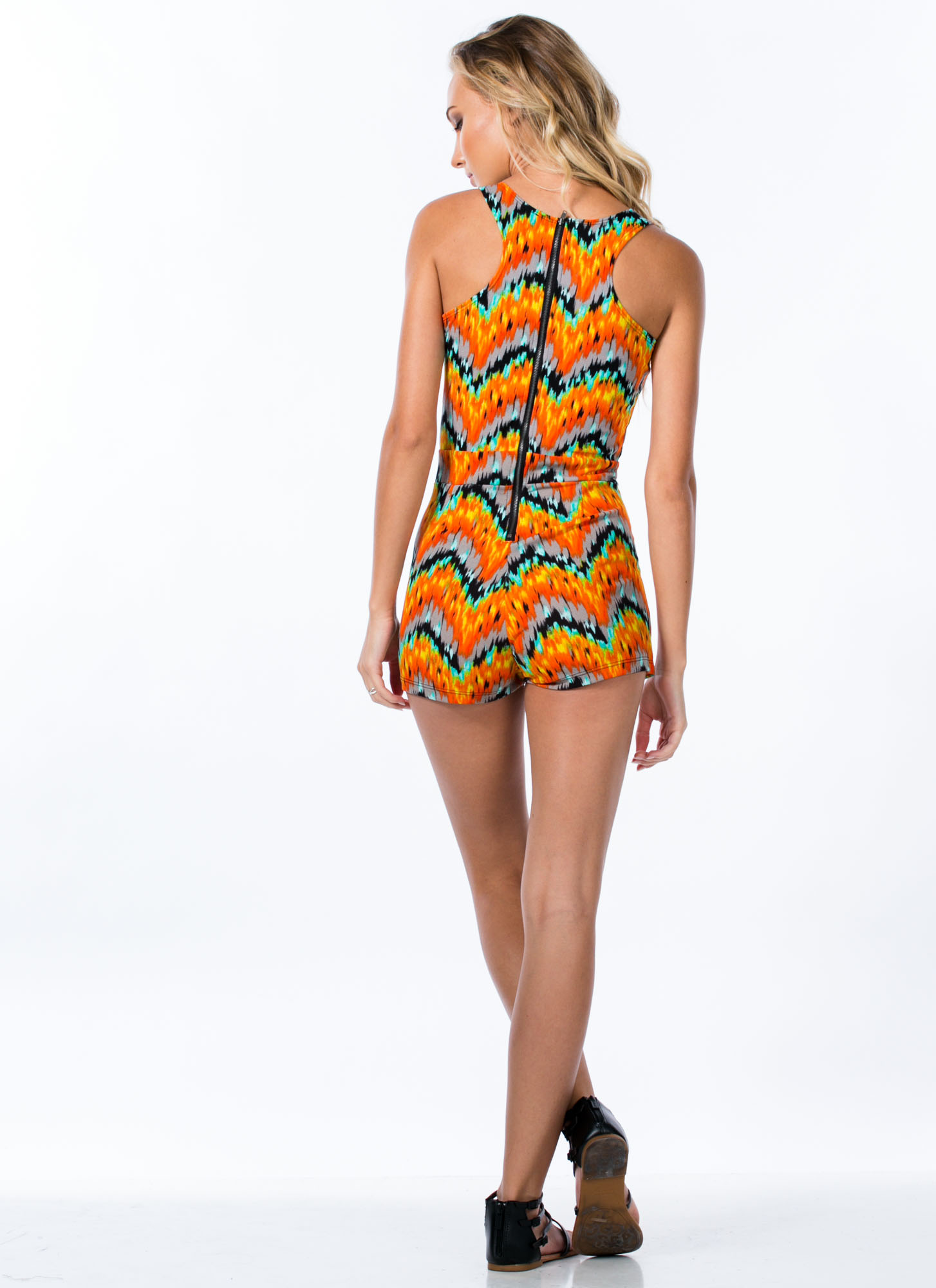 Abstract Print Origami Skort Romper ORANGE