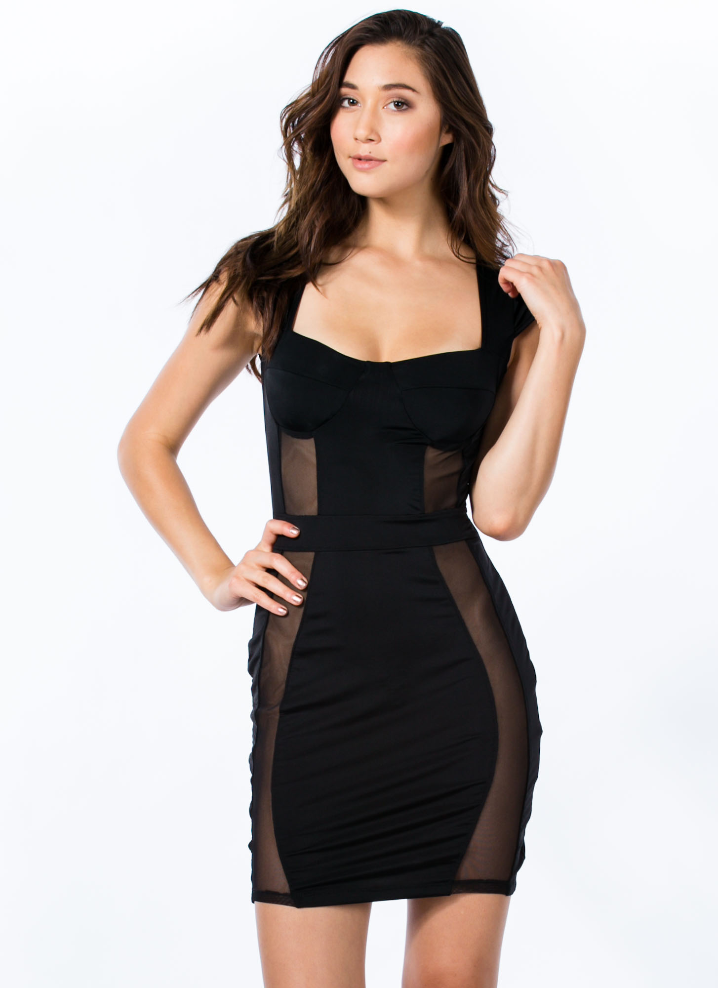 Mesh 2 B Made Bustier Bodycon Dress BLACK