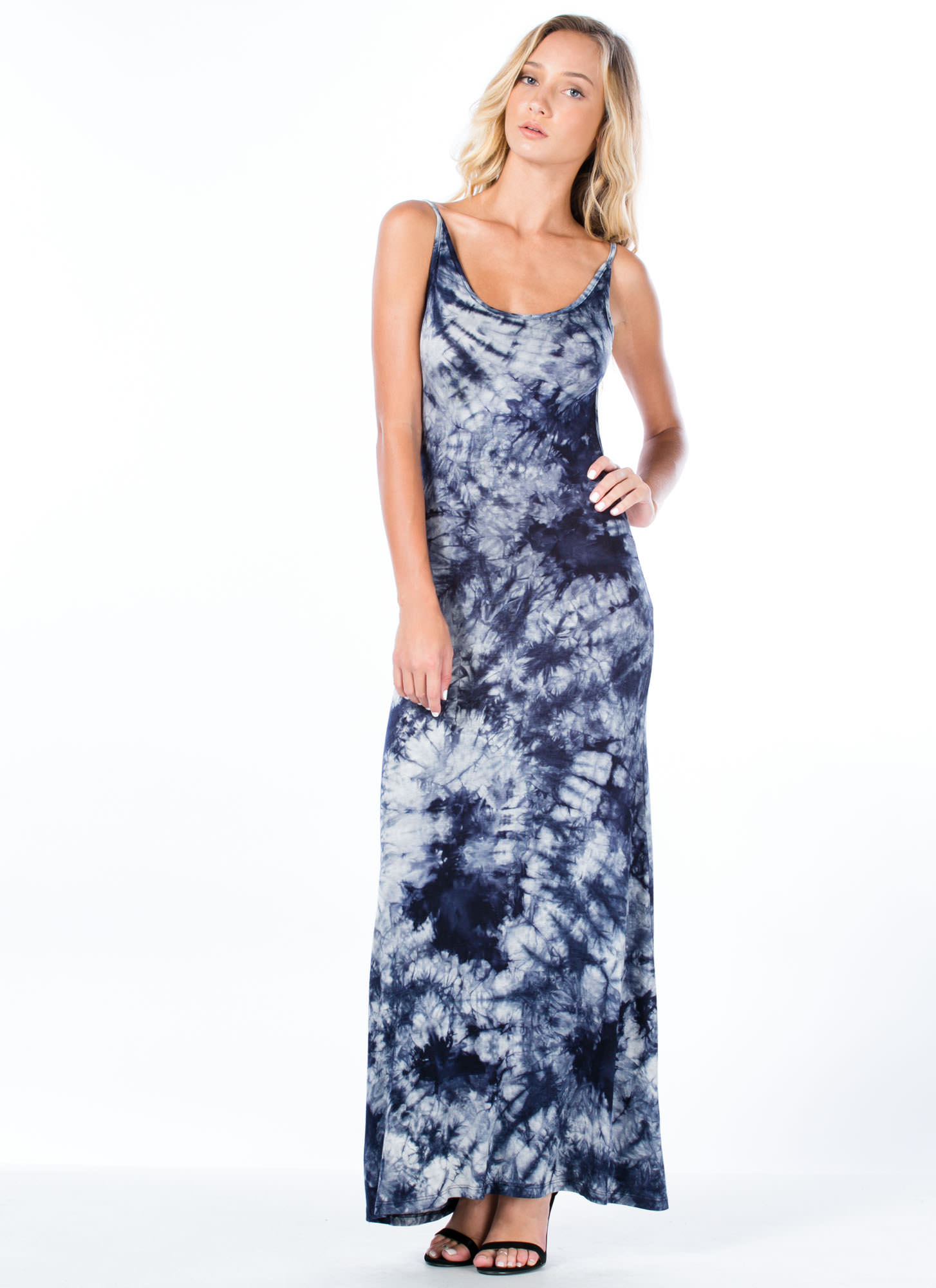 It's Tie-Dye For Open Back Maxi Dress NAVY