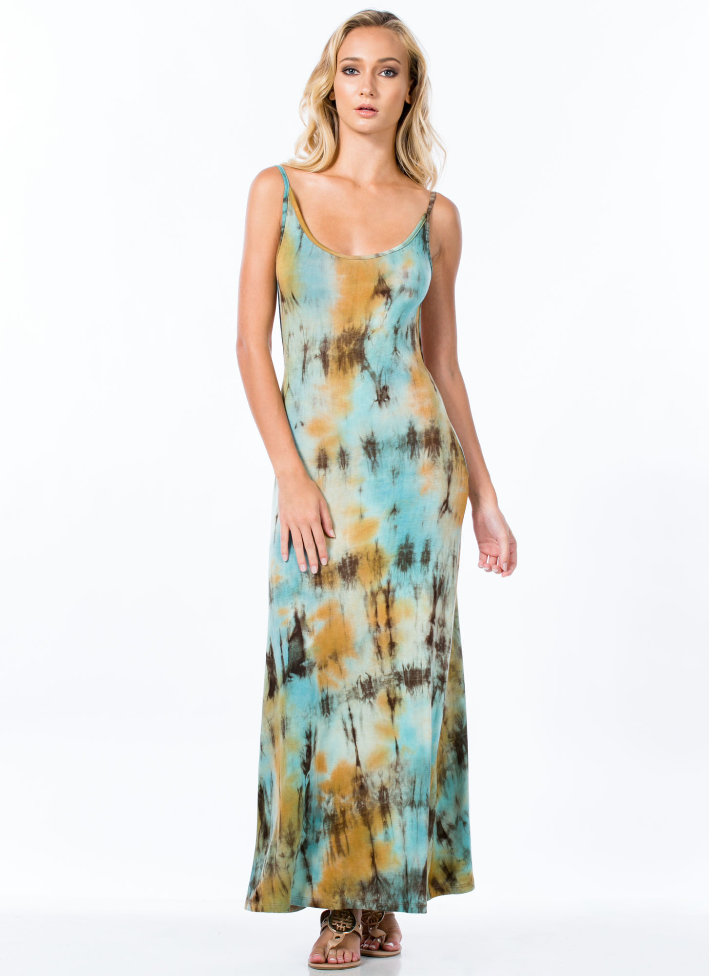 It's Tie-Dye For Open Back Maxi Dress TURQUOISE