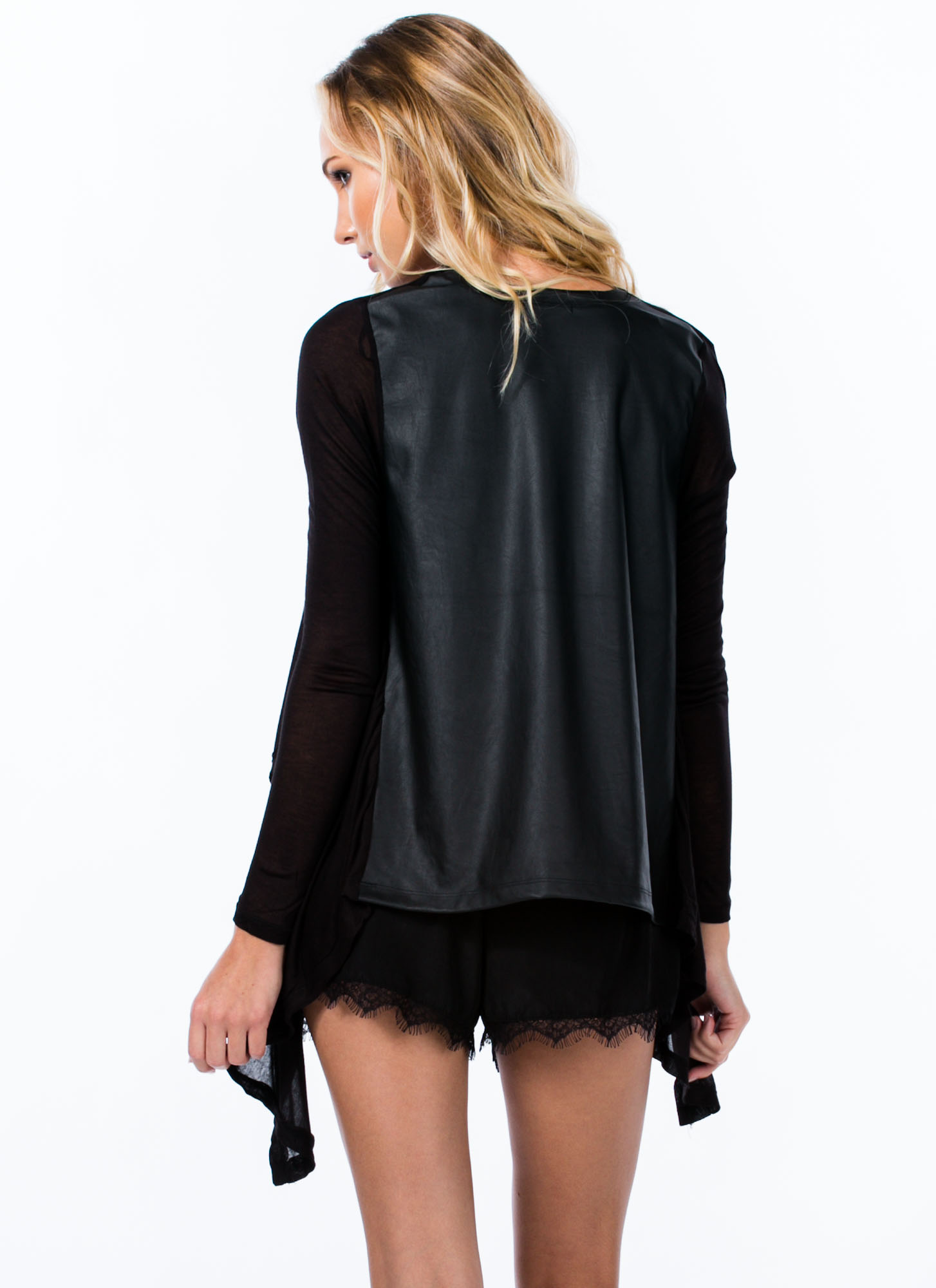 Mixed Media Flyaway Cardigan BLACK