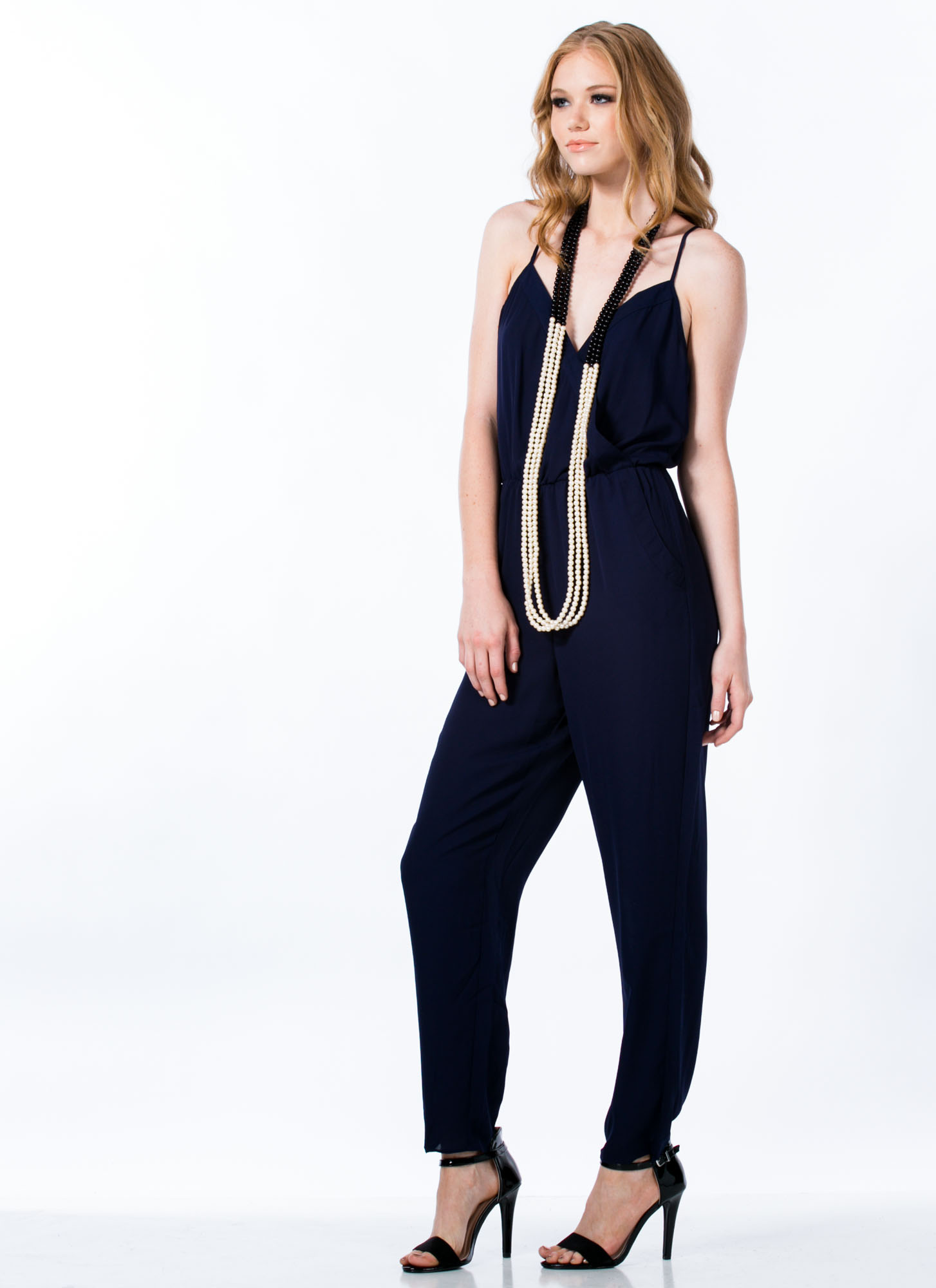 Overlapping Tank Jumpsuit NAVY