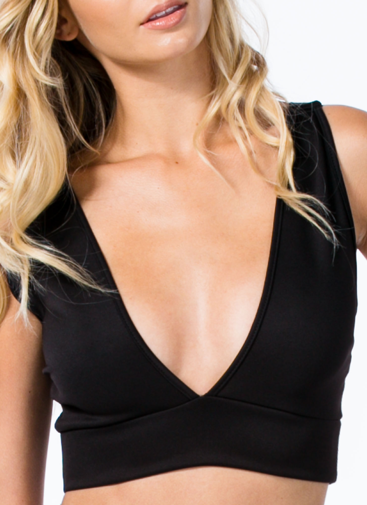 Deep V Cropped Top BLACK