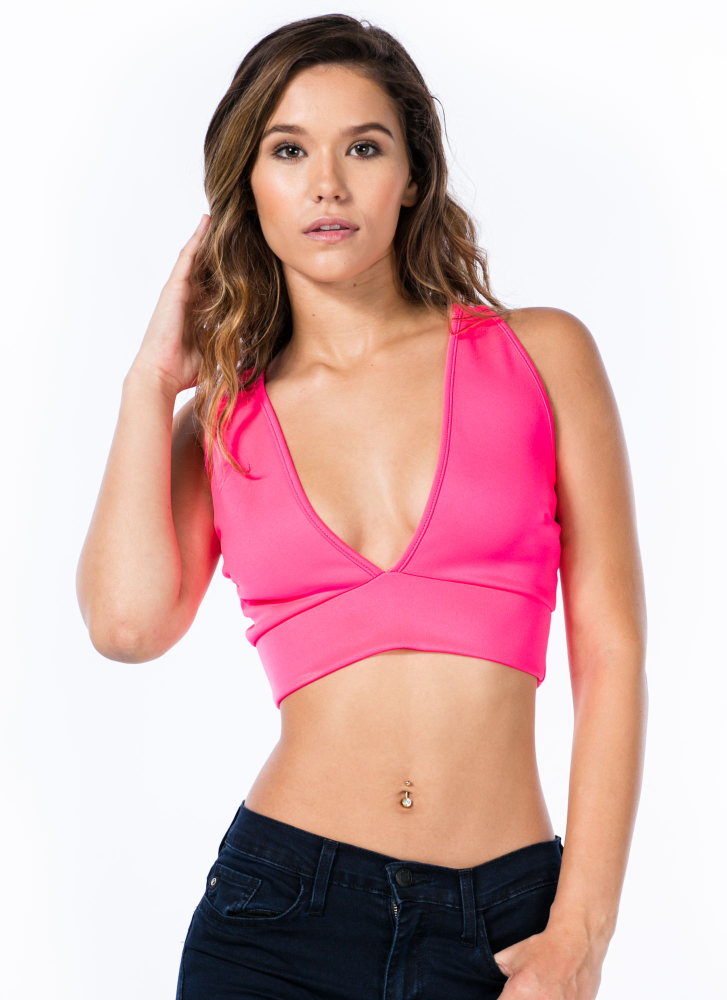 Deep V Cropped Top HOTPINK