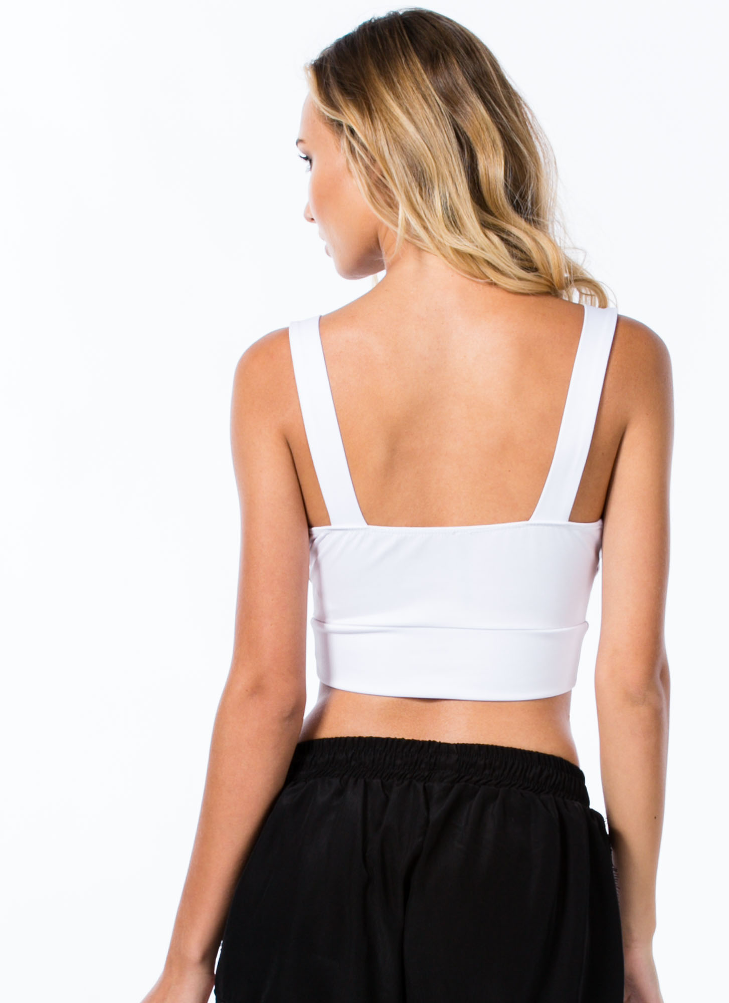 Deep V Cropped Top WHITE