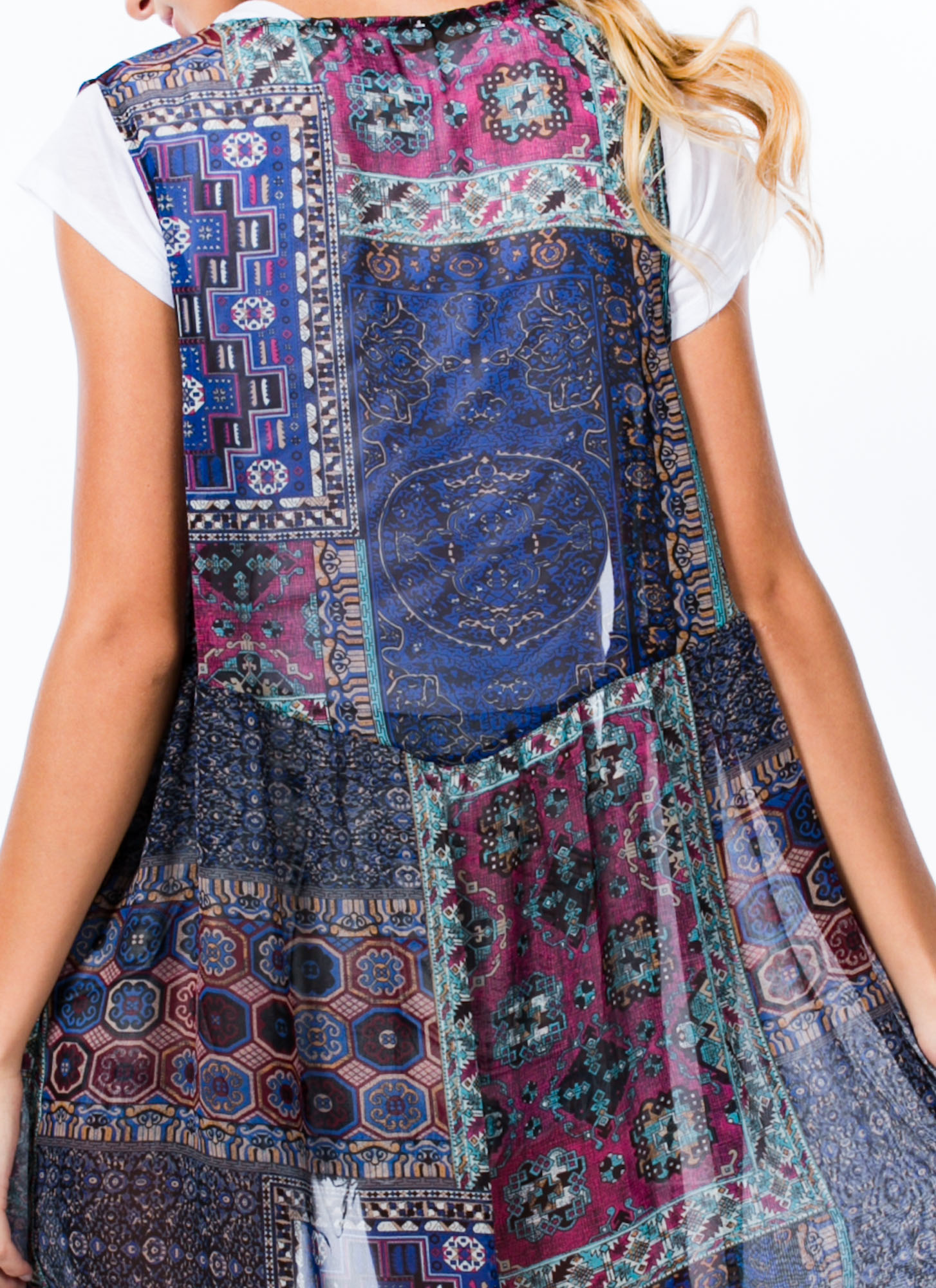 Tapestry Print Sleeveless Vest BLUE