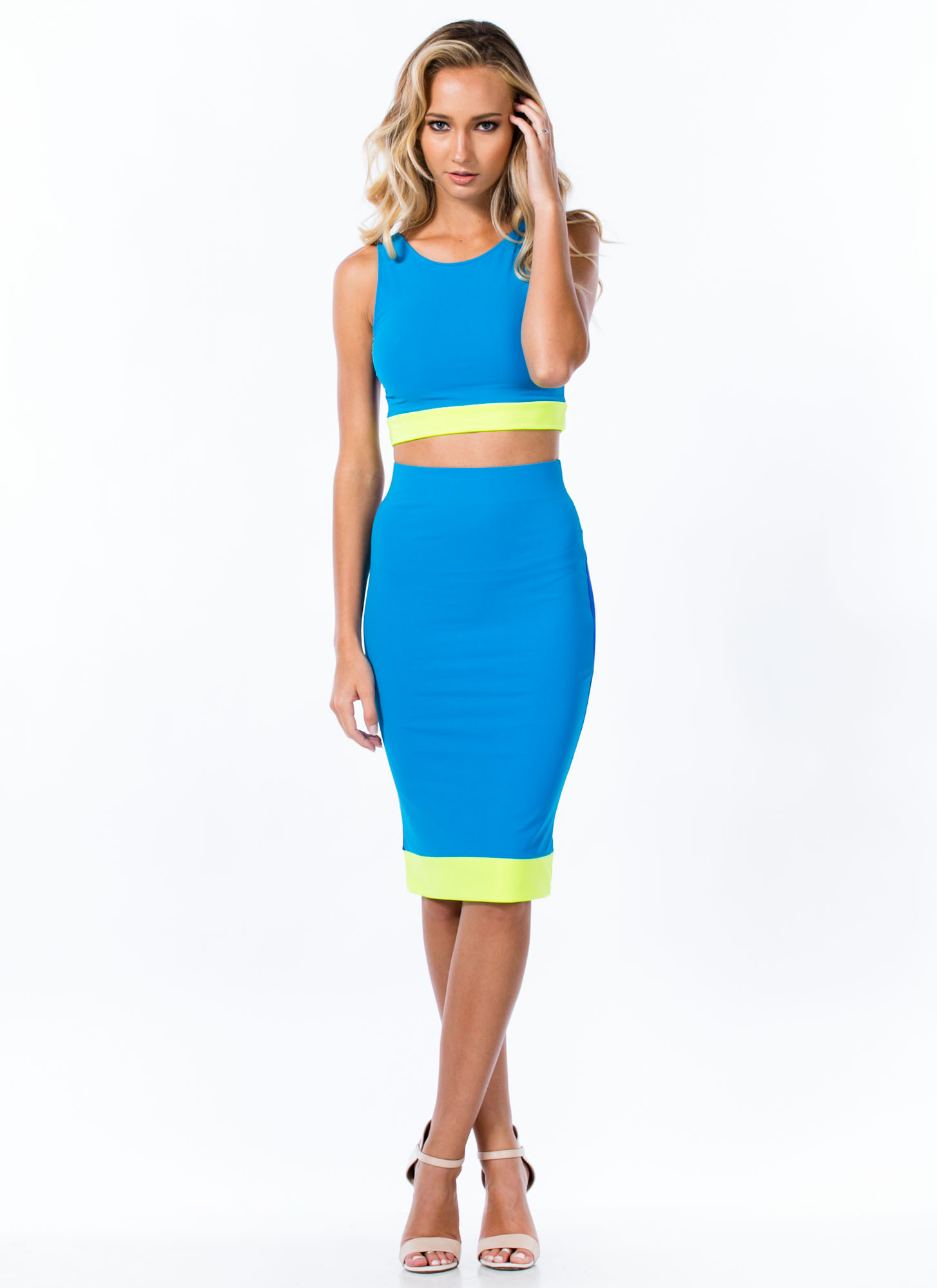 Reversible Colorblock Midi Skirt BLUE