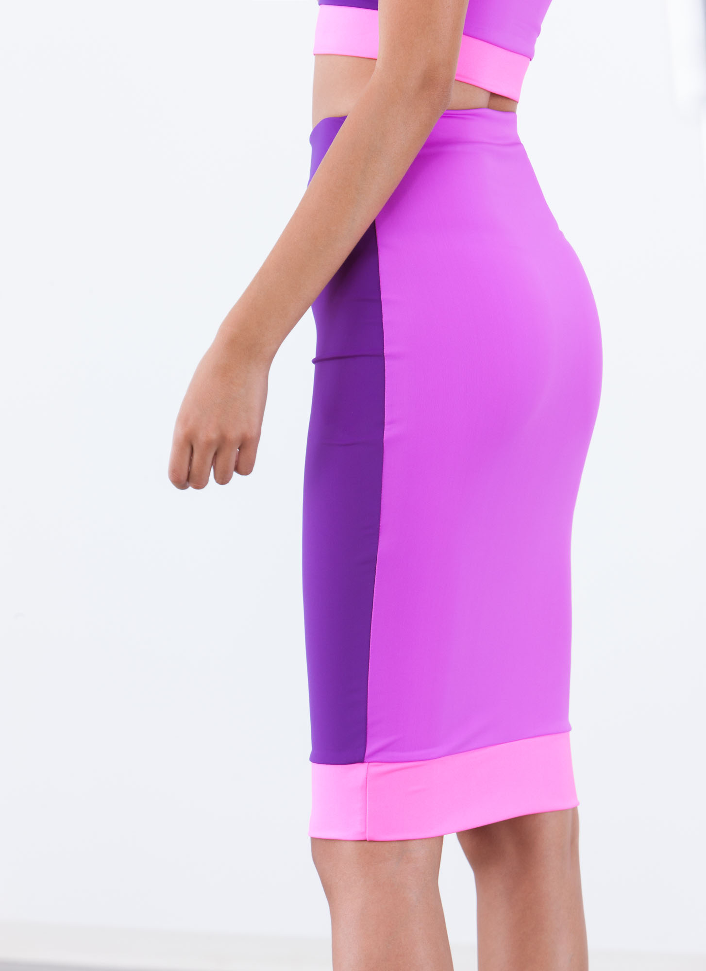 Reversible Colorblock Midi Skirt PURPLE