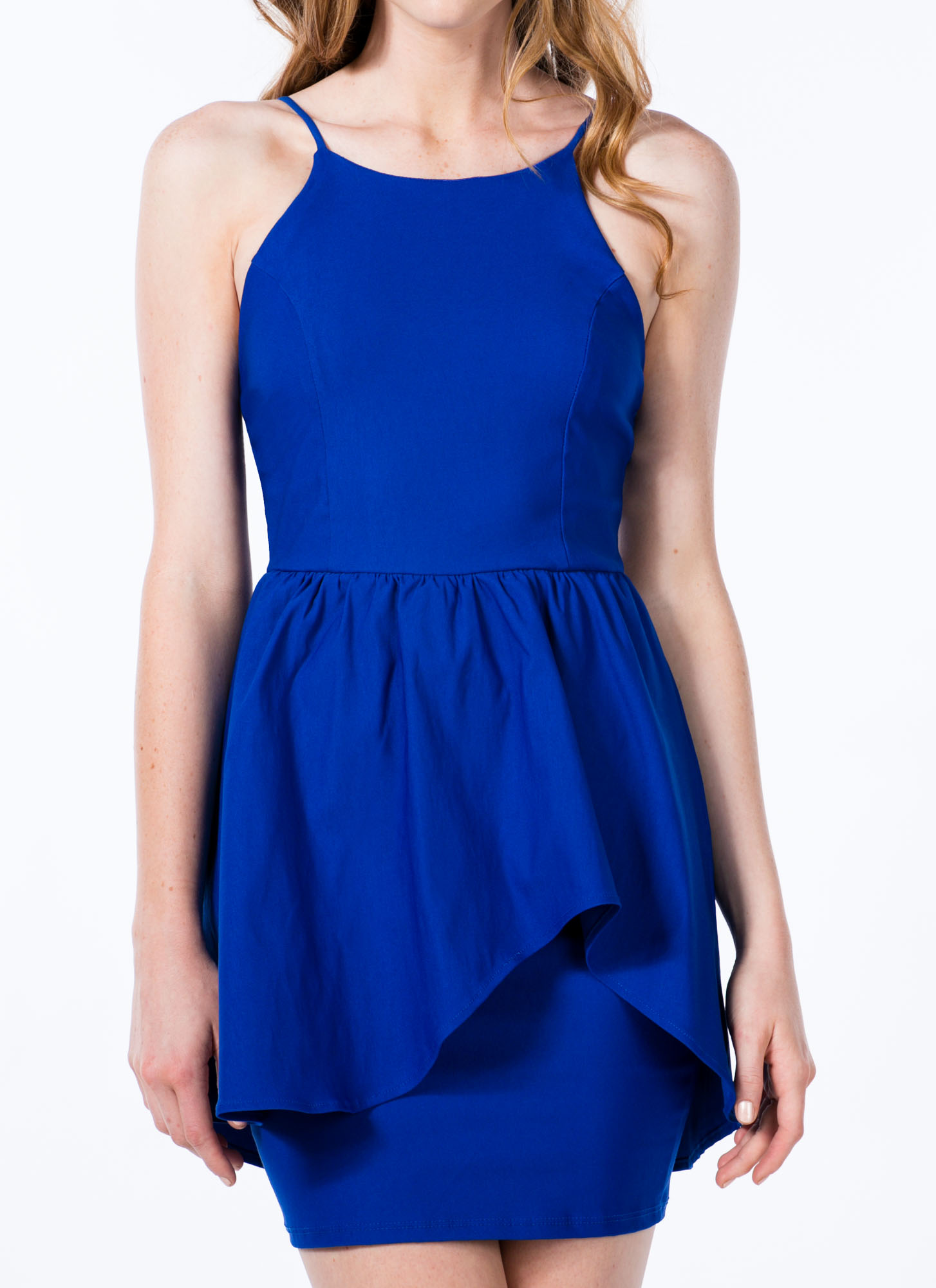 Asymmetrical Peplum Dress COBALT