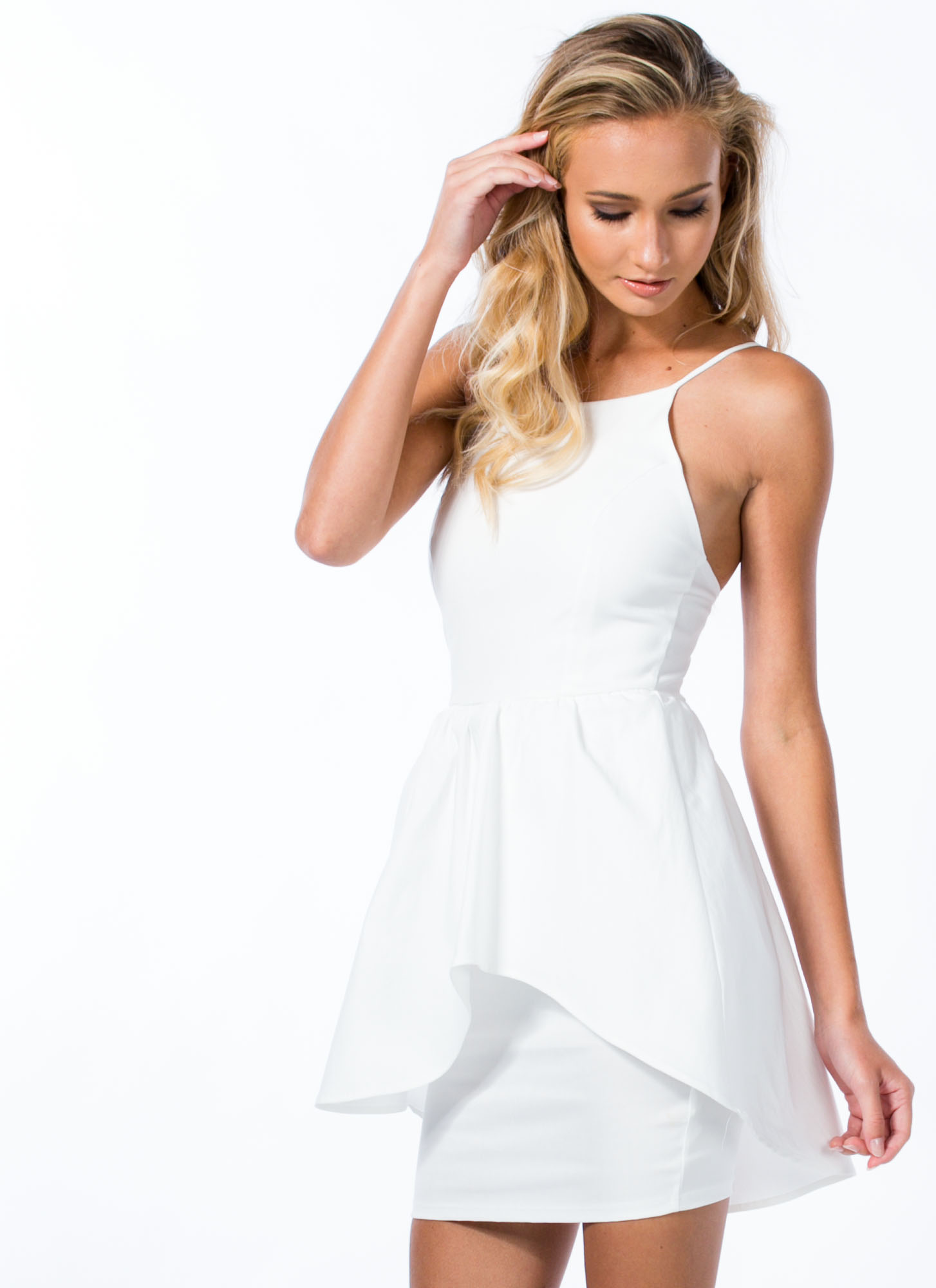 Seeing Curves Peplum Dress WHITE