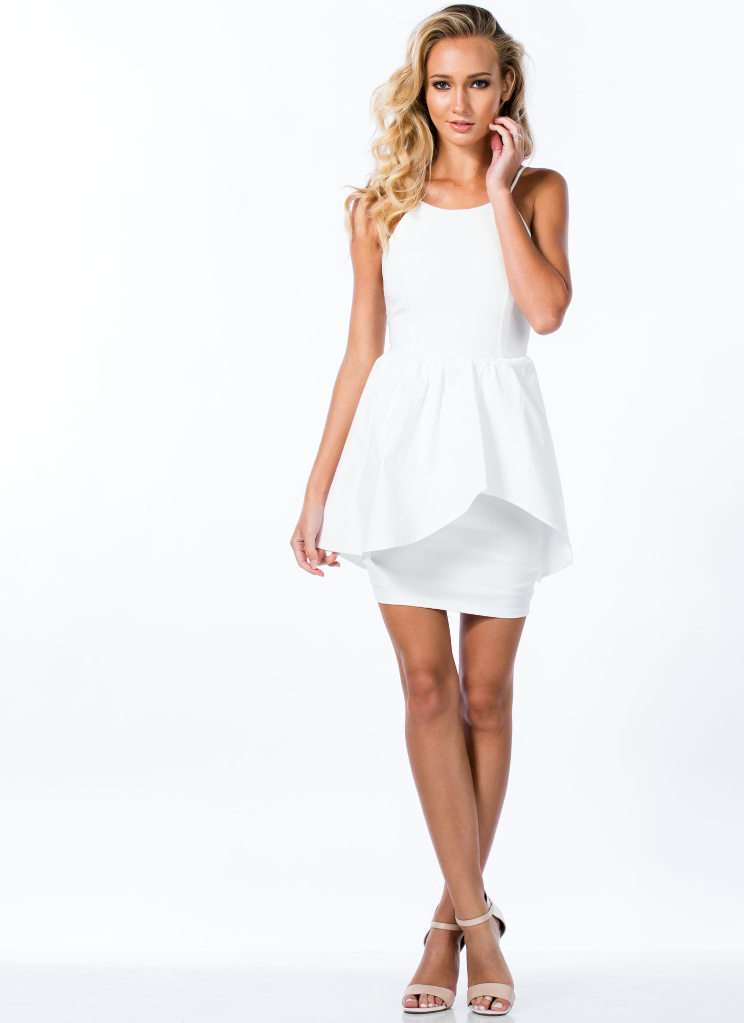 Asymmetrical Peplum Dress WHITE