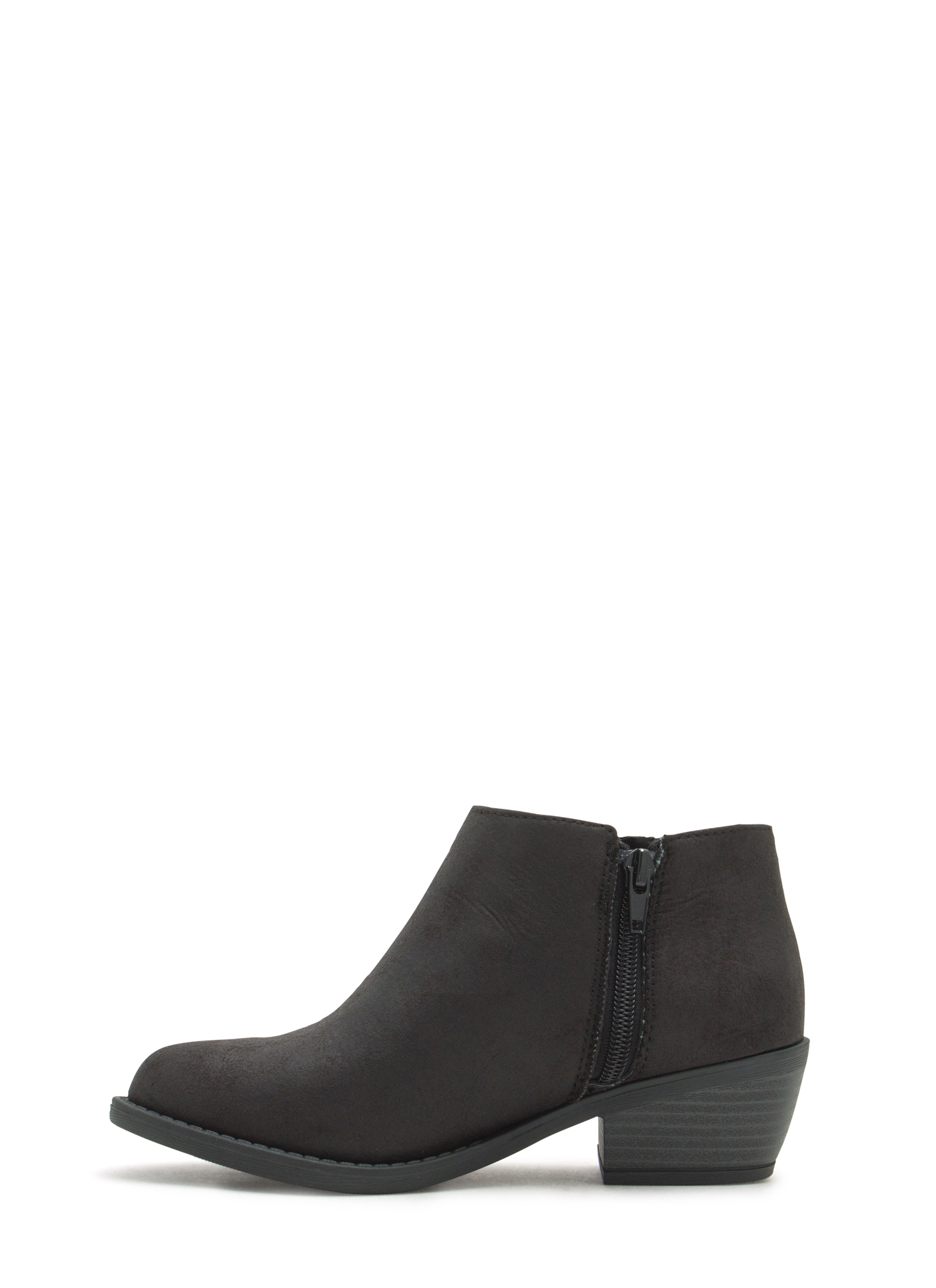 Perfect Basic Faux Leather Booties BLACK