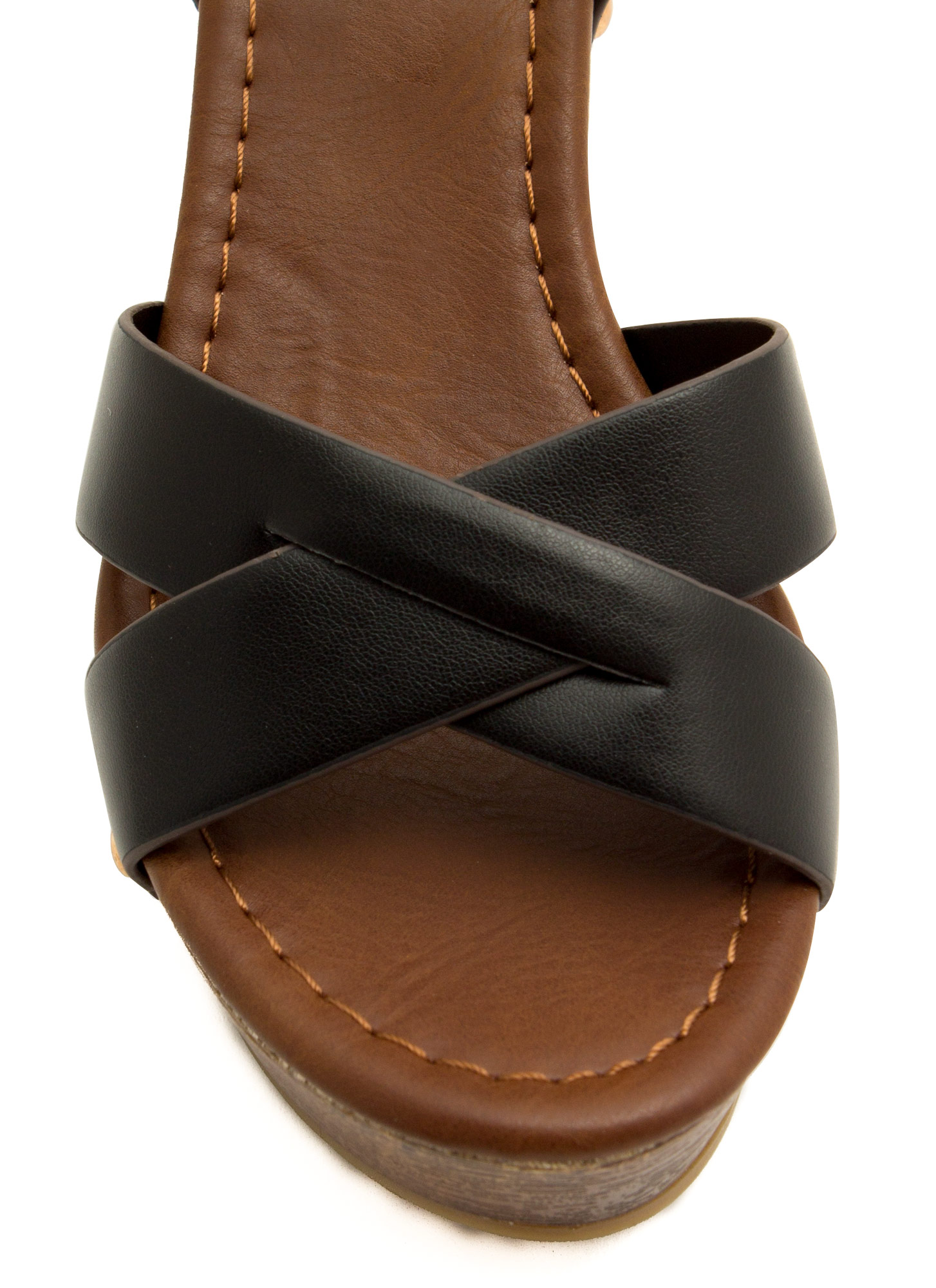 Cross The Line Platform Wedges BLACK