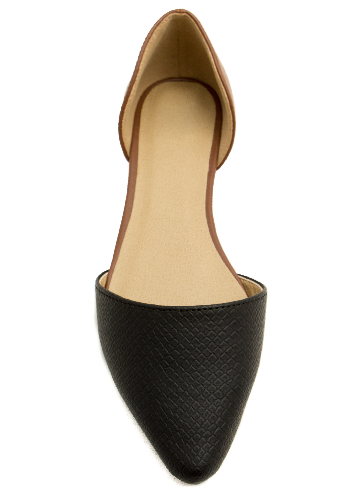 Snake Up On Me Contrast D'Orsay Flats BLACKTAN