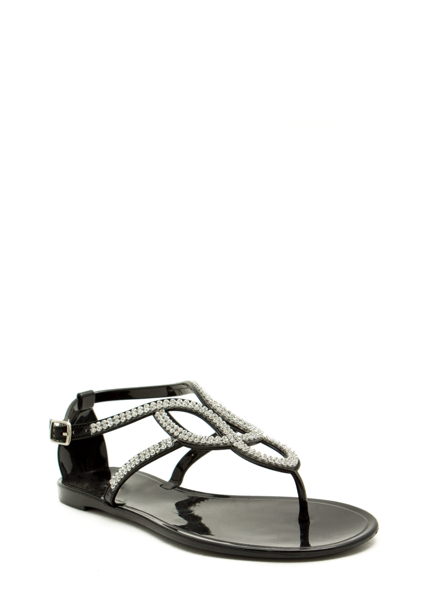 Grown Up Faux Jewel Jelly Sandals BLACK