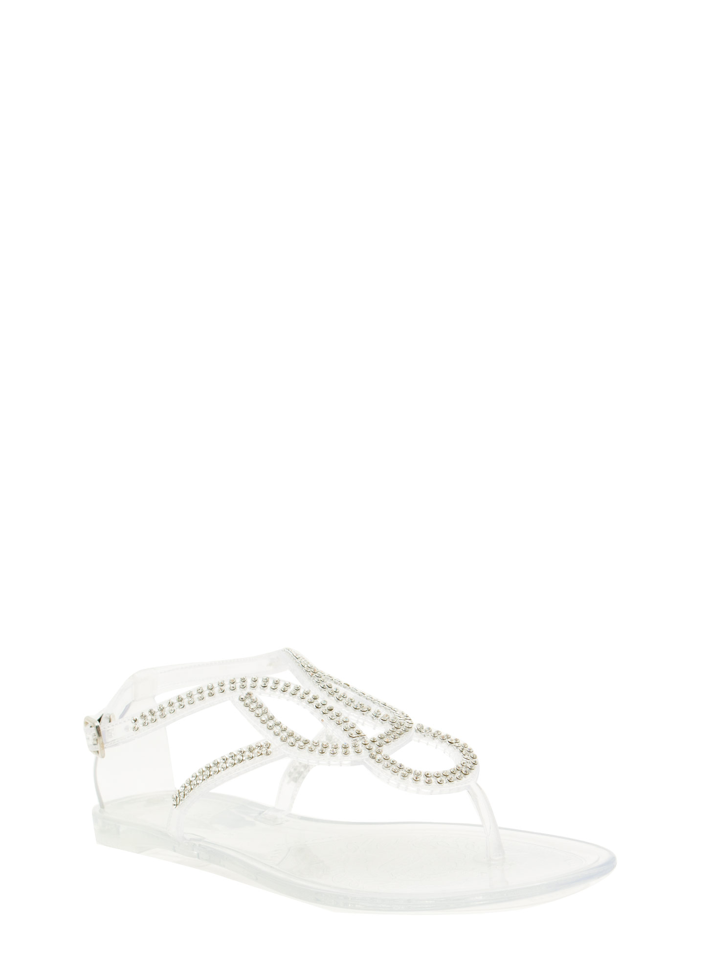 Grown Up Faux Jewel Jelly Sandals CLEAR