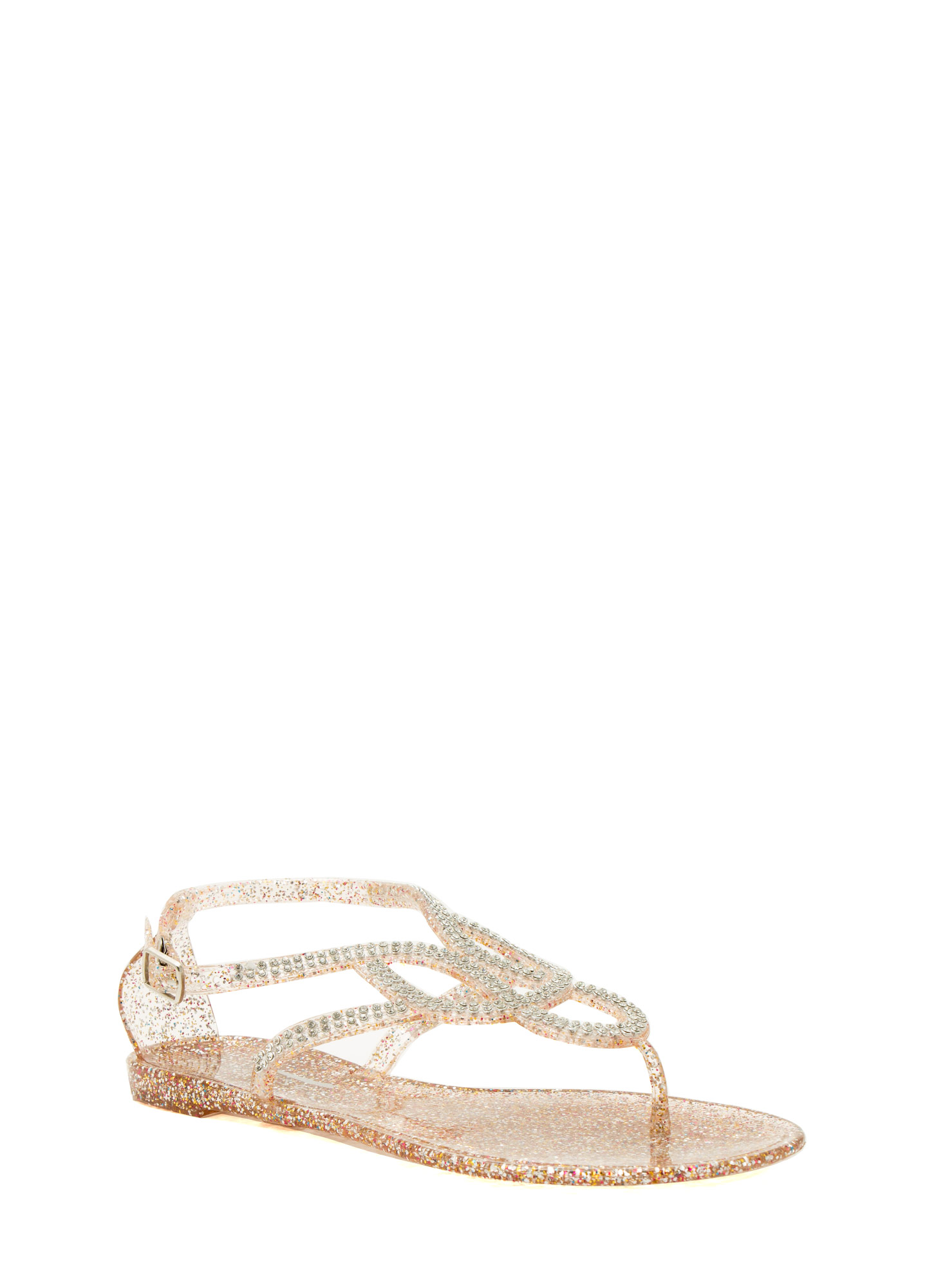 Grown Up Faux Jewel Jelly Sandals CLEARMULTI