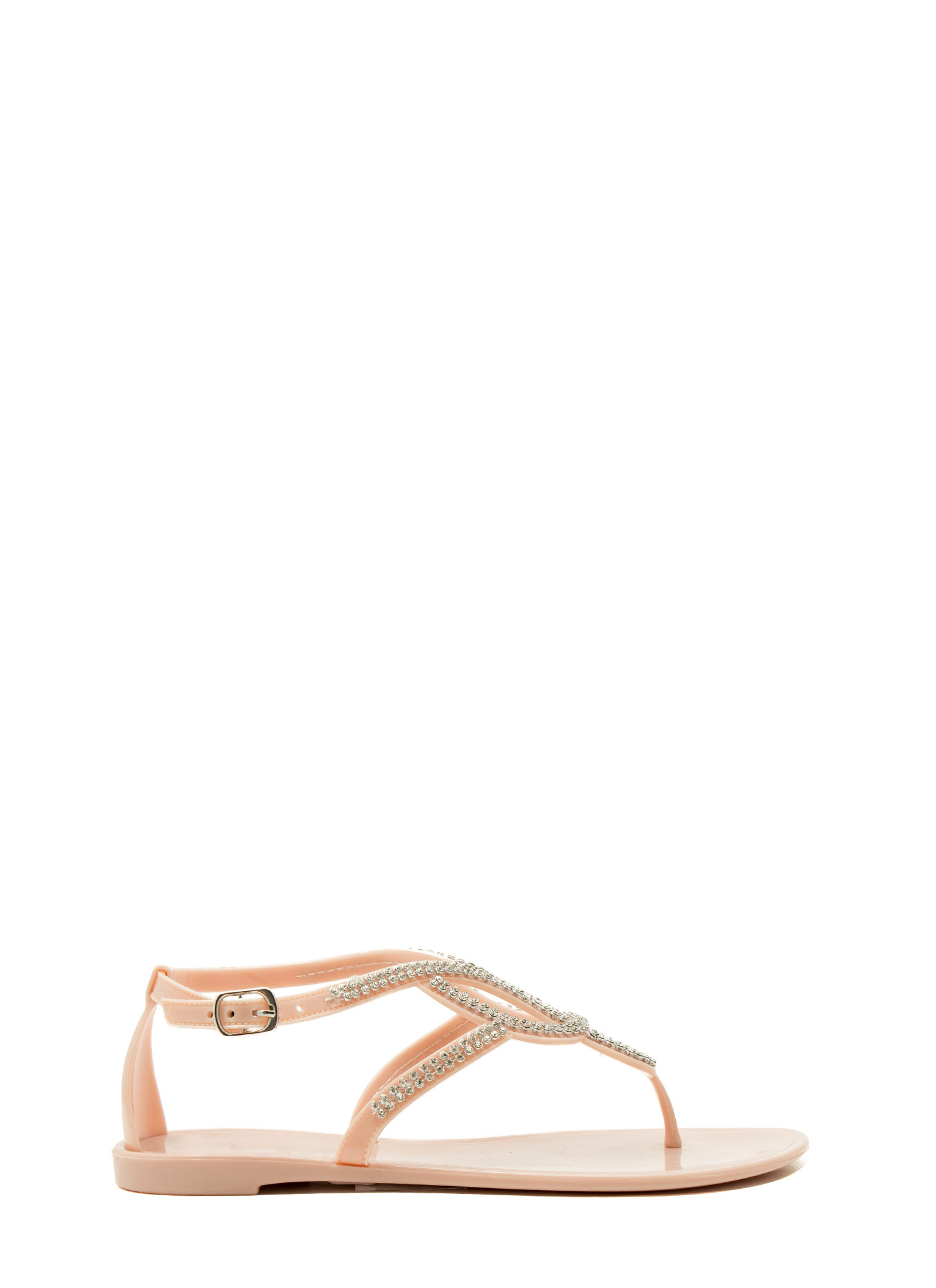 Grown Up Faux Jewel Jelly Sandals NUDE