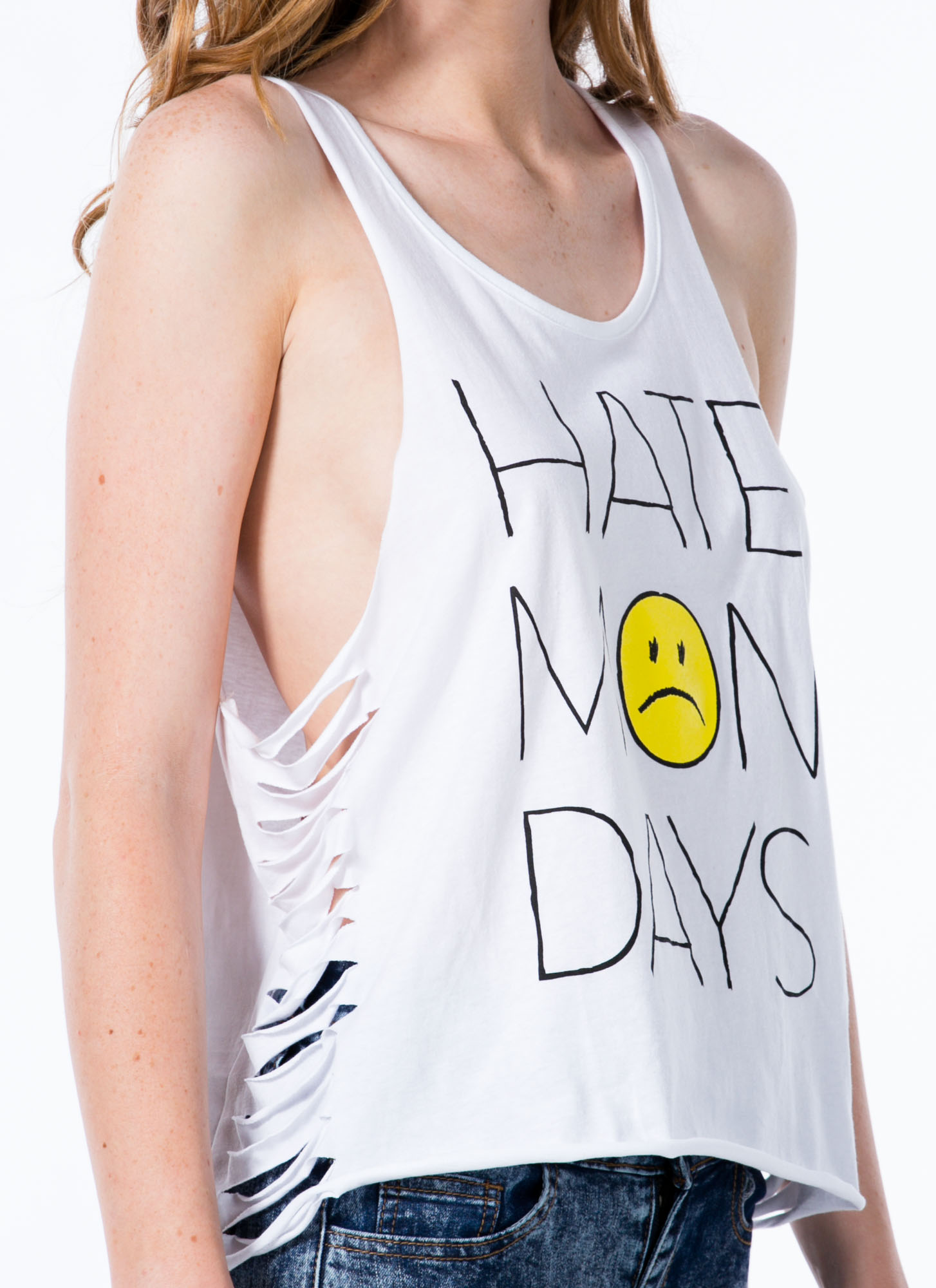 Hate Mondays Sad Face Slashed Tank WHITE