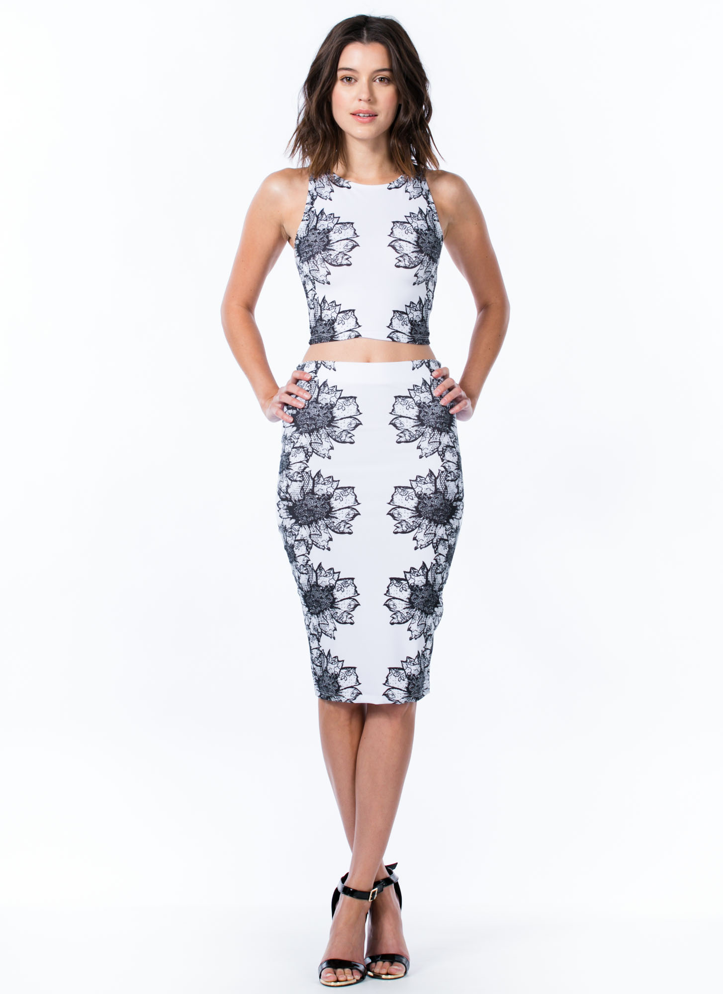 Sunflower Lace Pencil Skirt WHITE