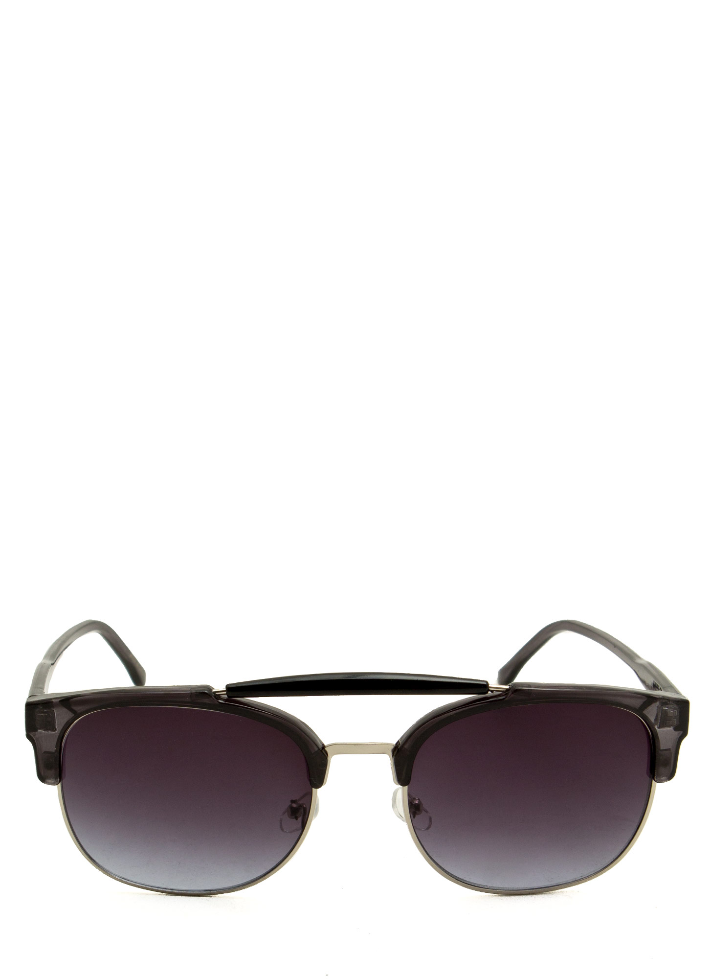 Top Bar Browline Sunglasses BLACKSILVER