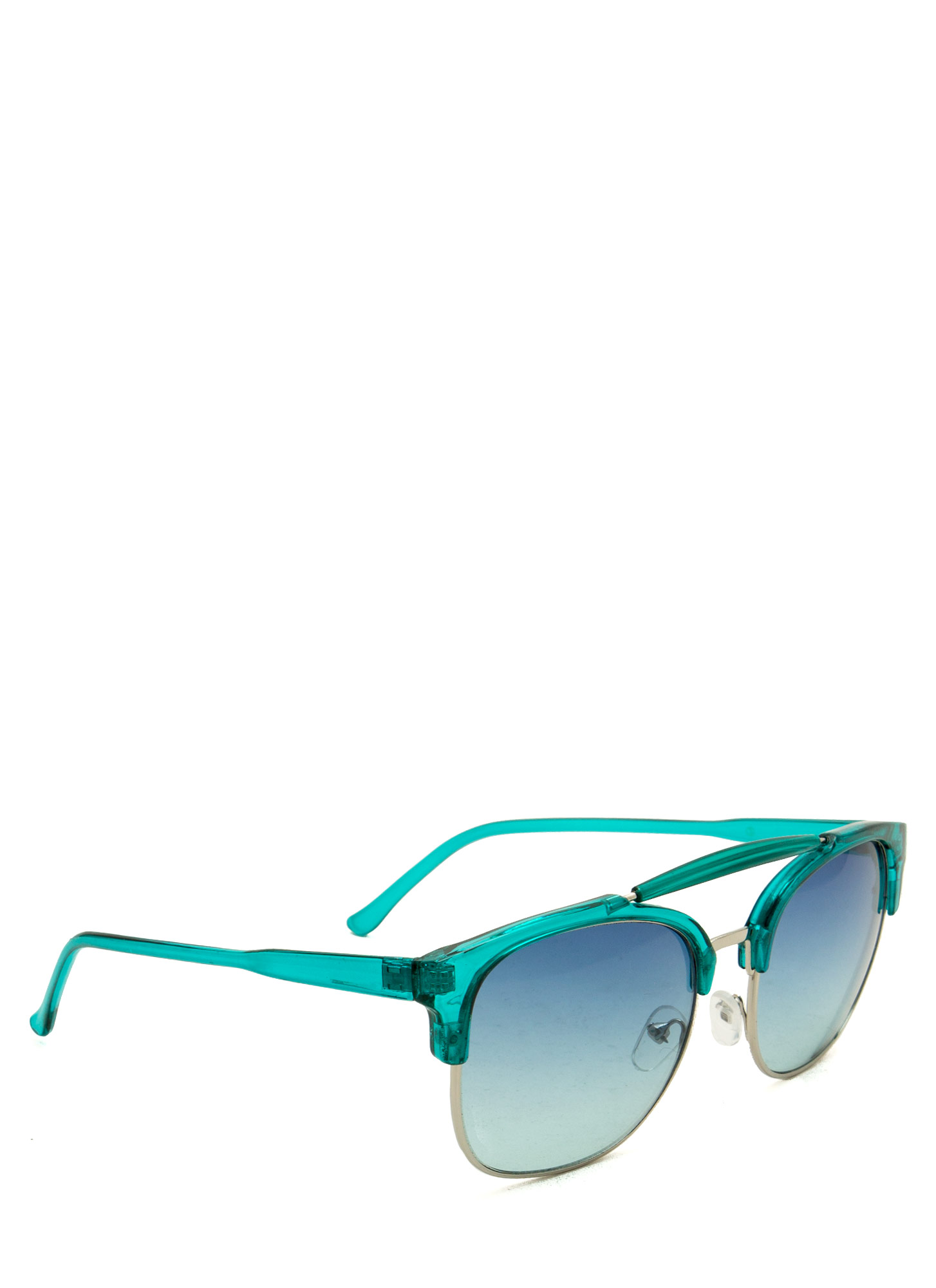 Top Bar Browline Sunglasses TEALSILVER