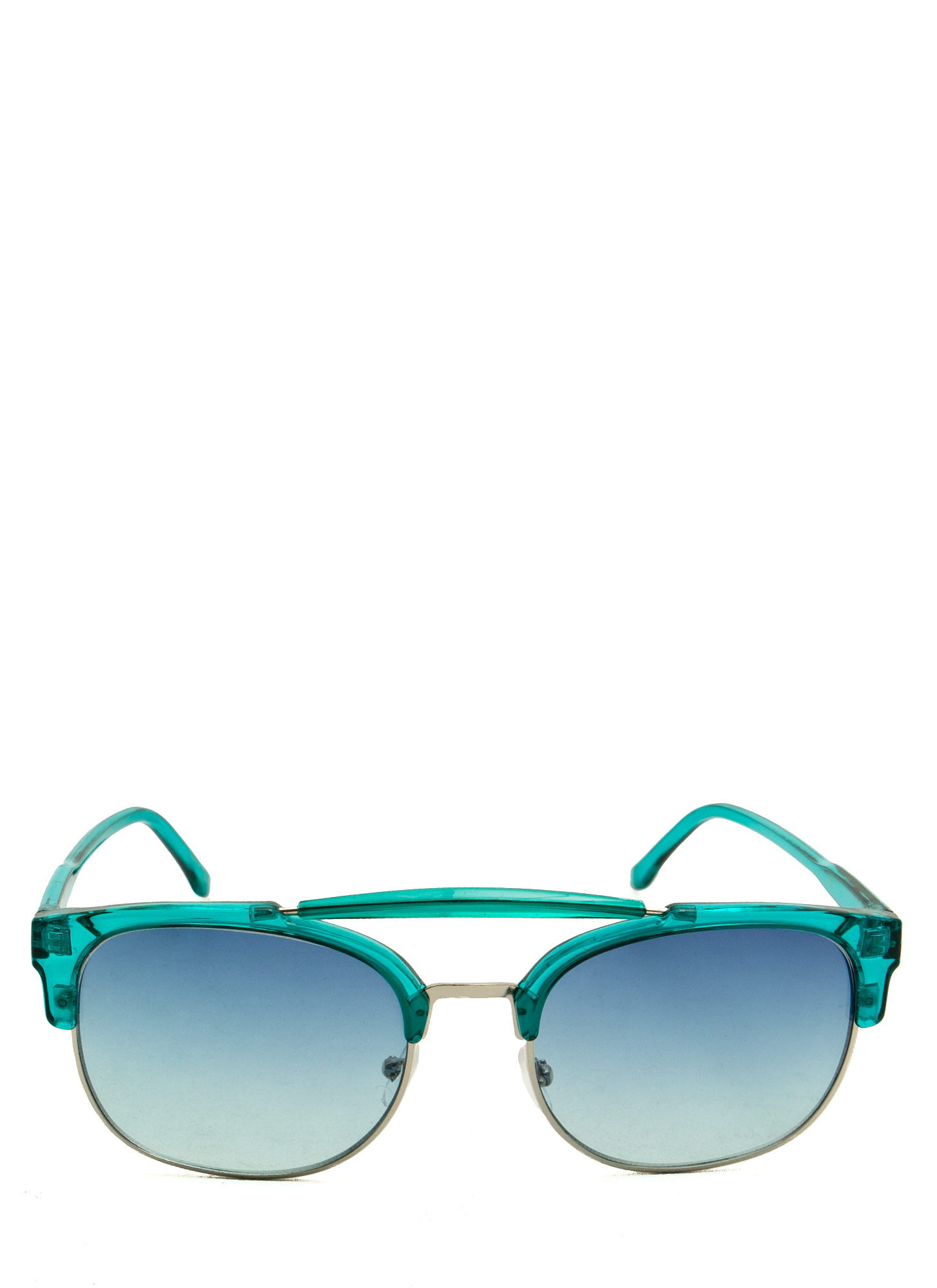 Top Bar Clubmaster Sunglasses TEALSILVER