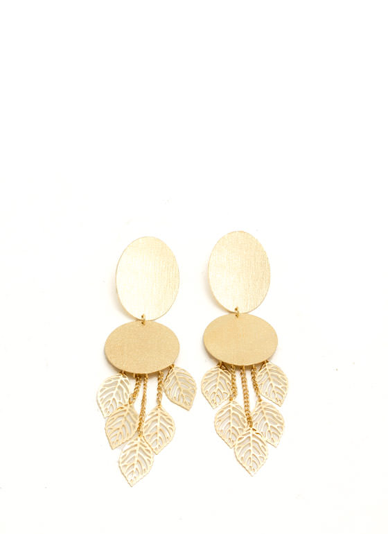 Leaf Charm Textured Plate Earrings GOLD