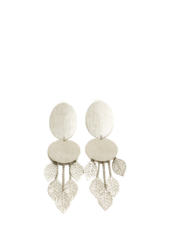 Leaf Charm Textured Plate Earrings SILVER