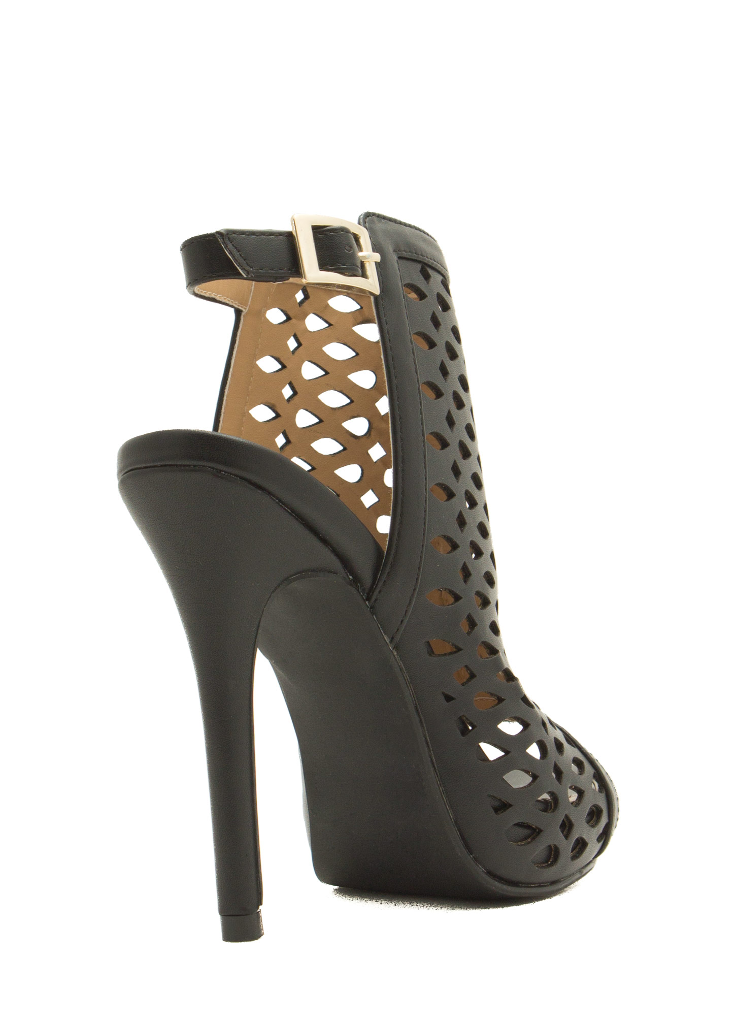 Marquis N Teardrop Cut-Out Heels BLACK