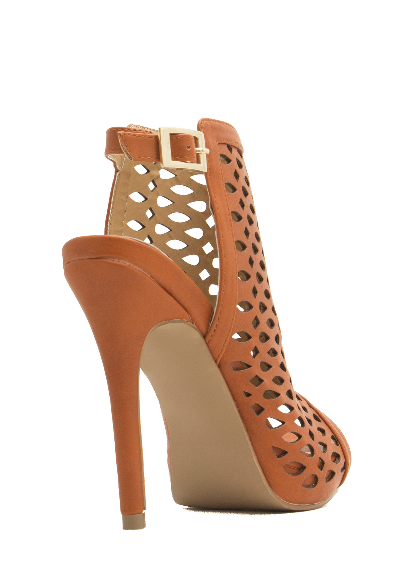 Marquis N Teardrop Cut-Out Heels TAN