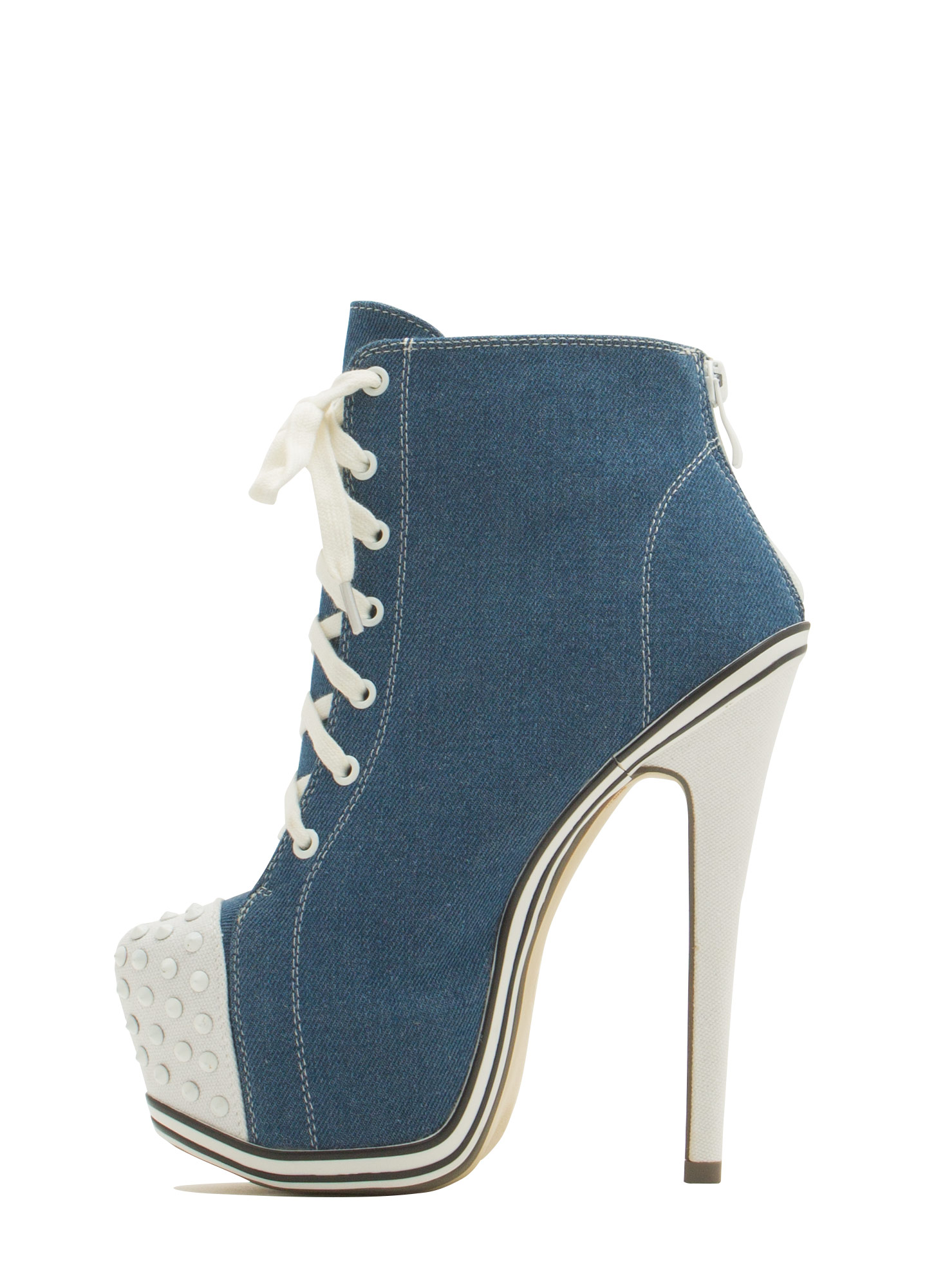 Sneak Peak Canvas Platform Booties DENIM